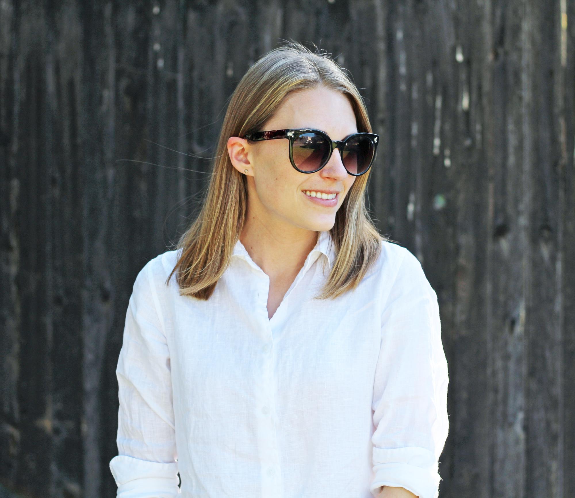 Uniqlo white linen button-down shirt — Cotton Cashmere Cat Hair