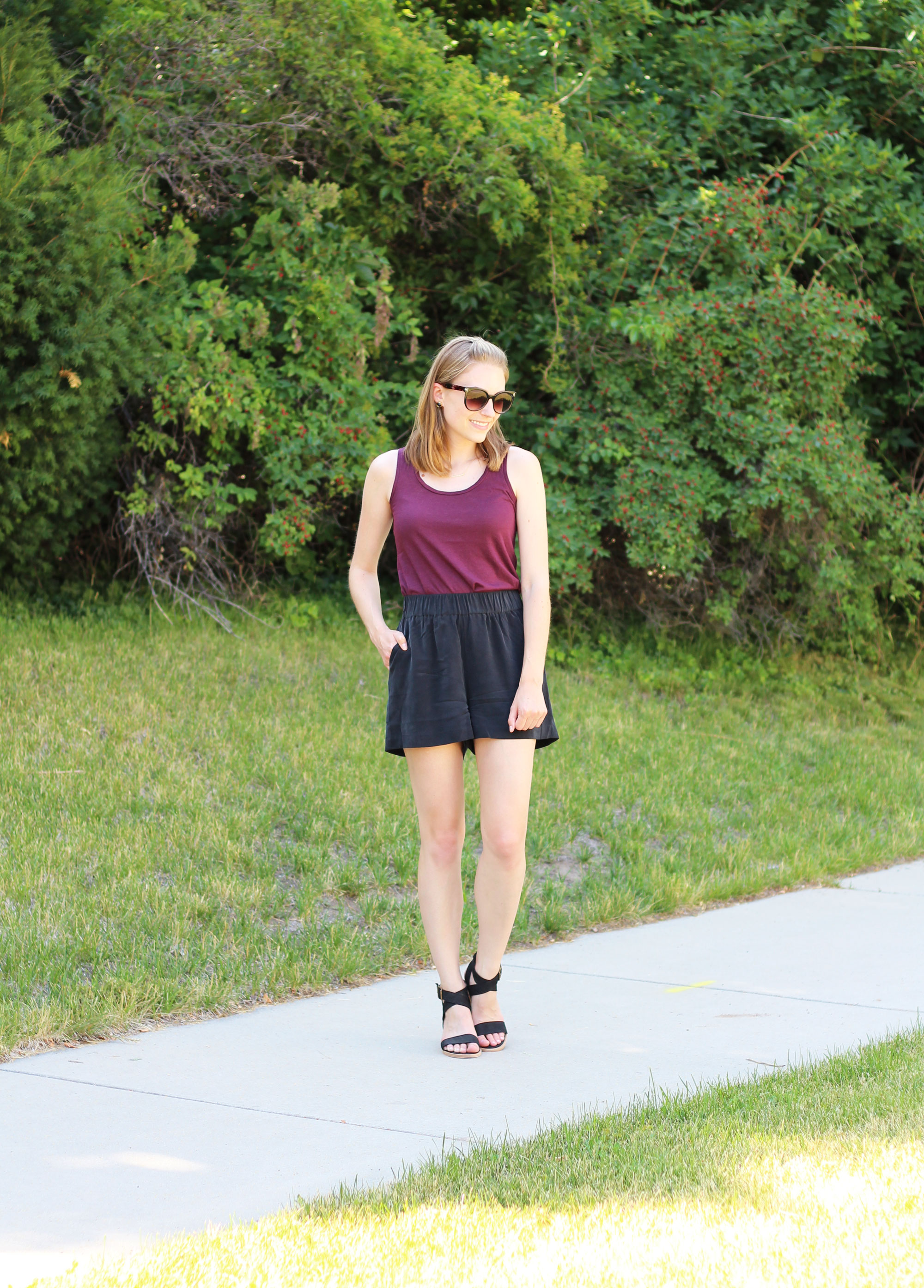 Burgundy tank top, black silk shorts, black Steve Madden sandals — Cotton Cashmere Cat Hair