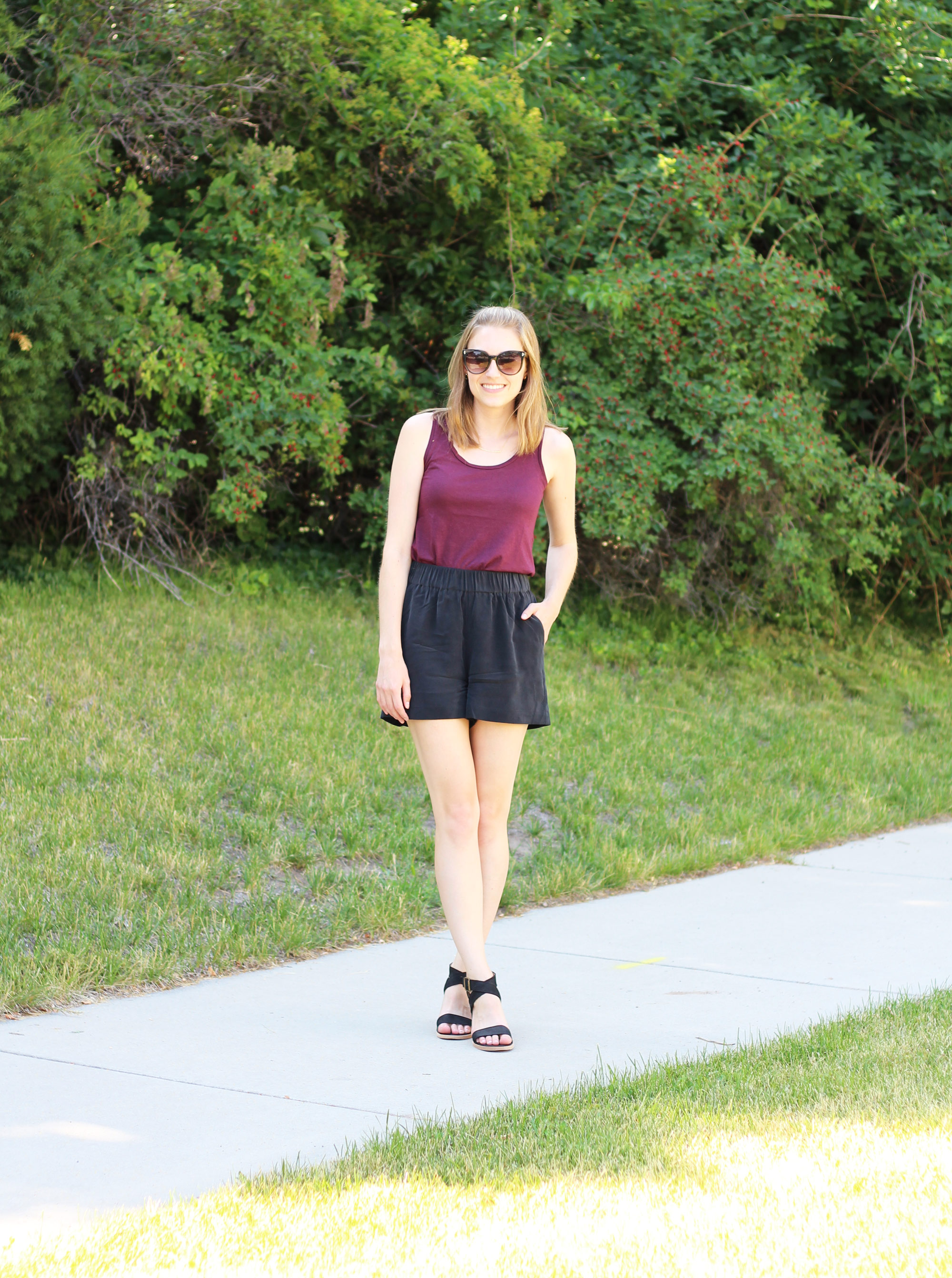 Black silk shorts outfit with burgundy tank top and black sandals — Cotton Cashmere Cat Hair