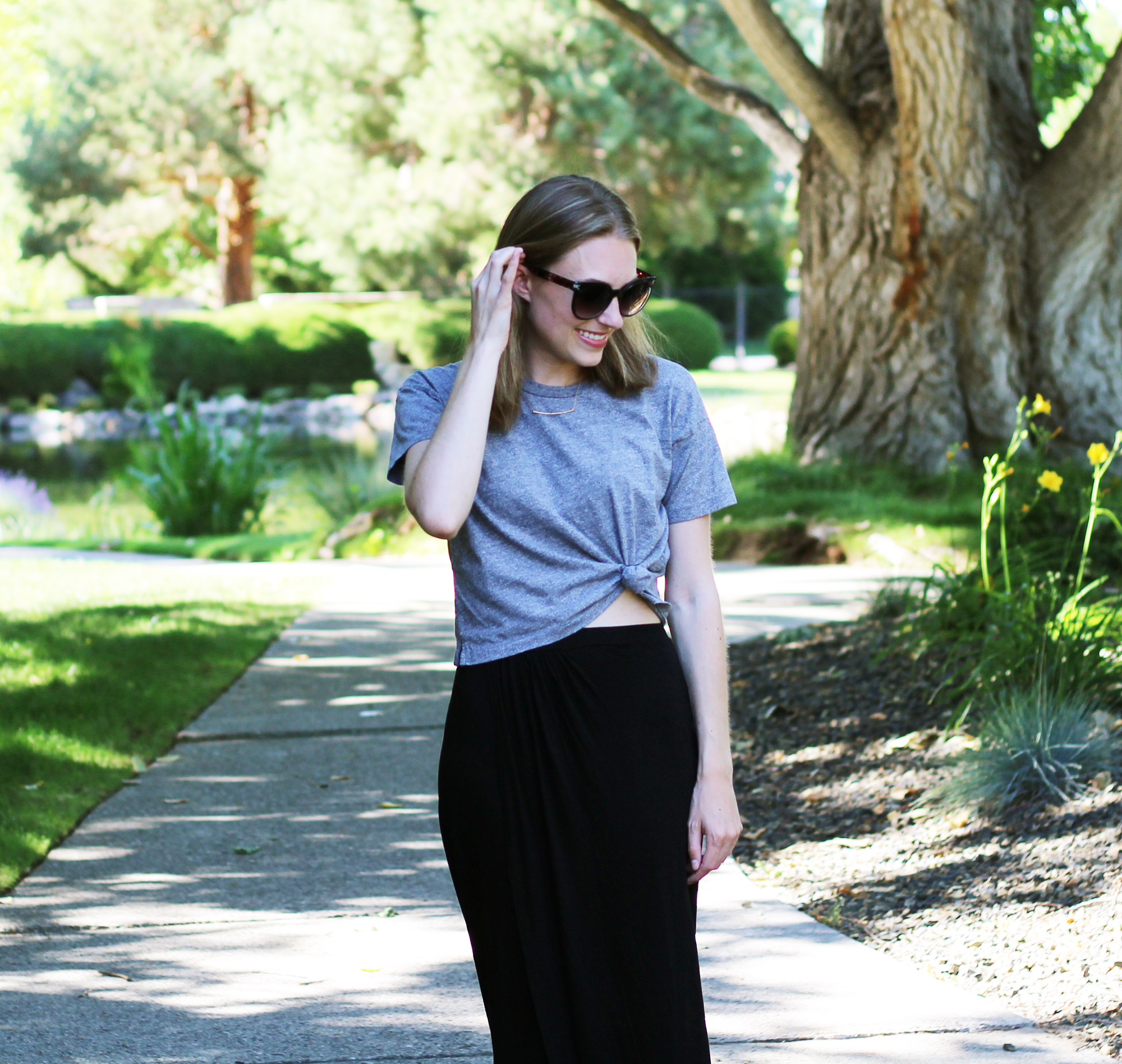 Gorjana necklace + grey cropped tee + black maxi skirt — Cotton Cashmere Cat Hair