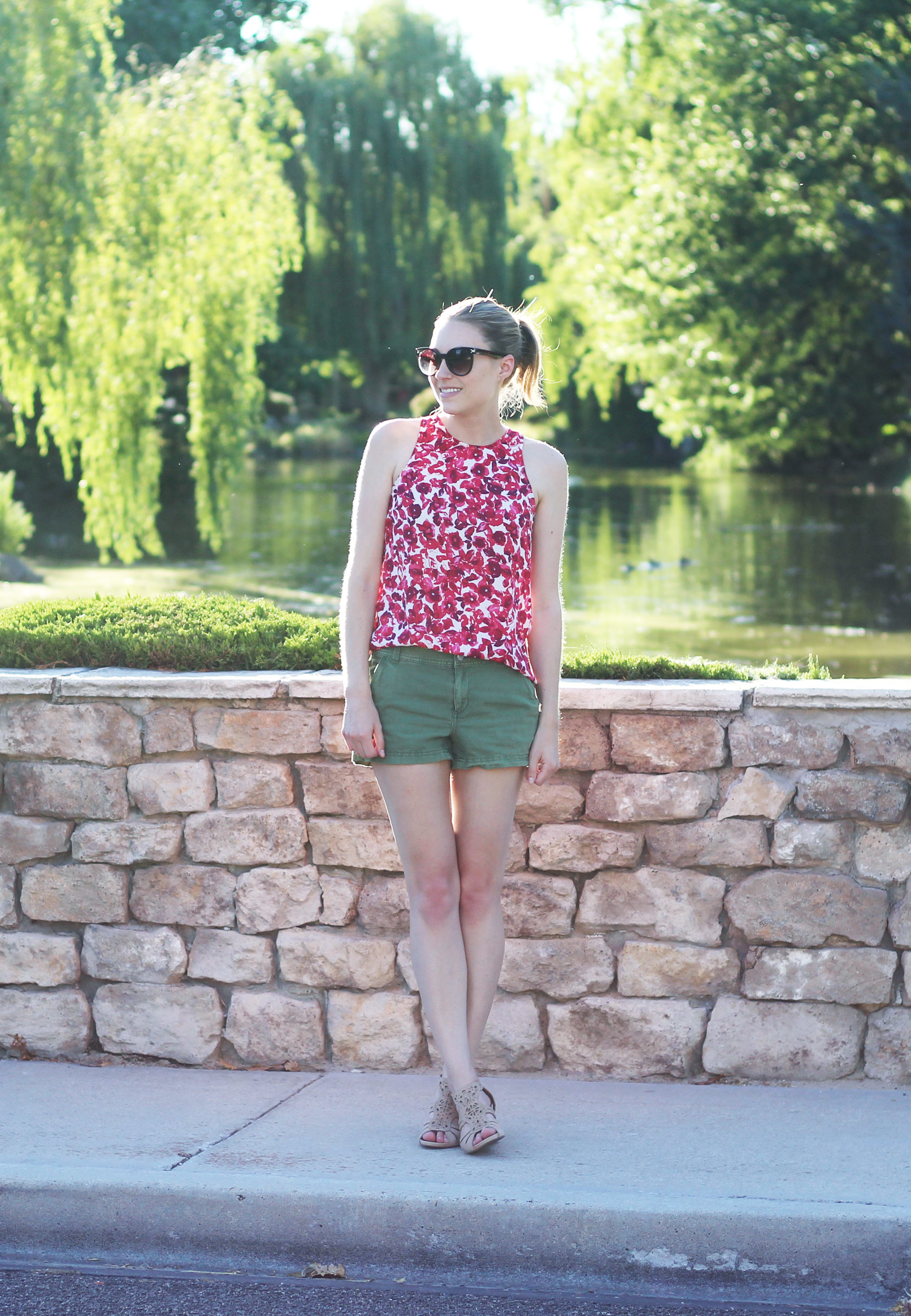 Who What Wear for Target red floral tank top, green shorts, Earthies 'Morolo' sandals — Cotton Cashmere Cat Hair