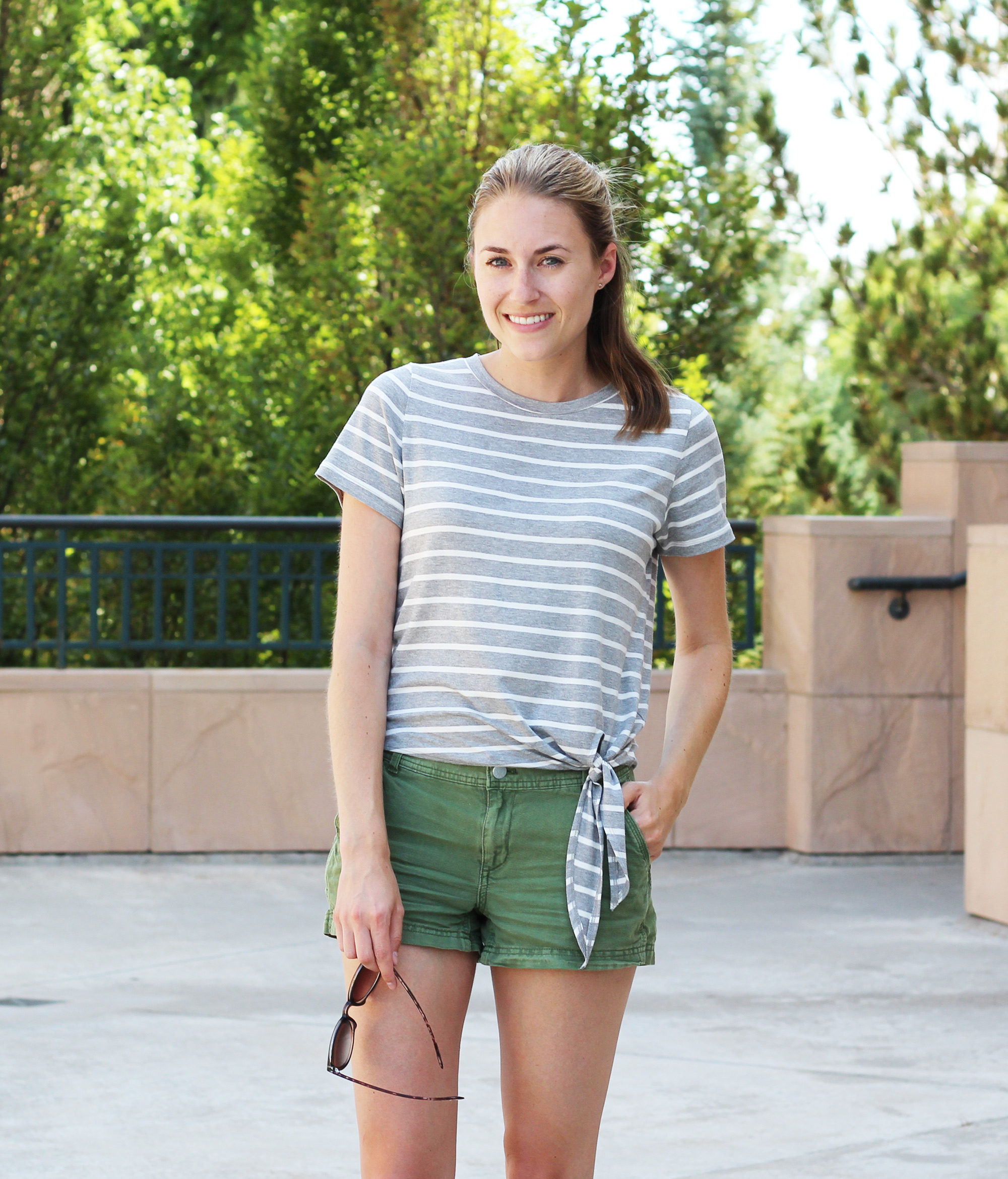 Amour Vert 'Julita' side-tie tee + green shorts — Cotton Cashmere Cat Hair