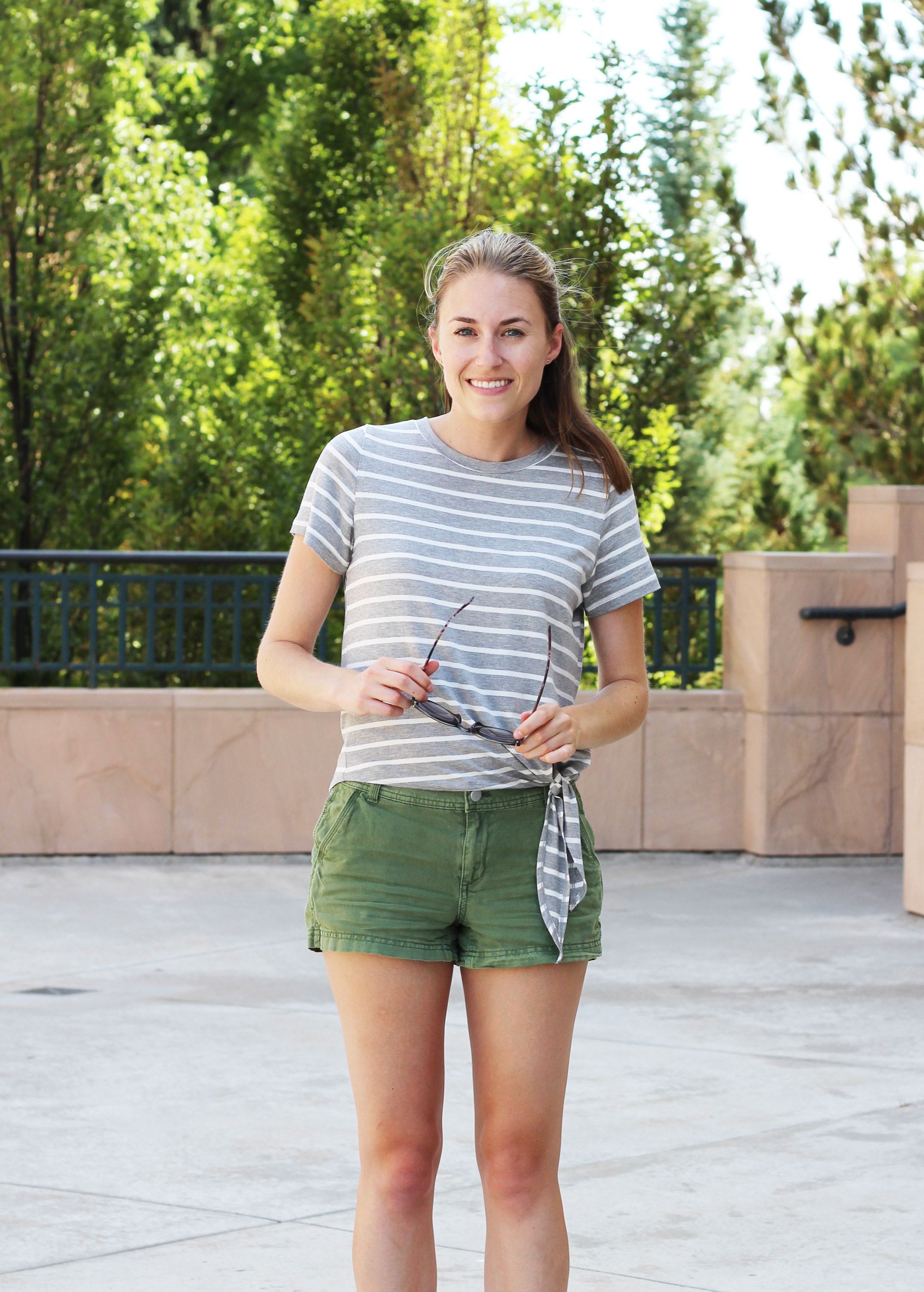 Amour Vert 'Julita' striped side-tie tee + green shorts — Cotton Cashmere Cat Hair