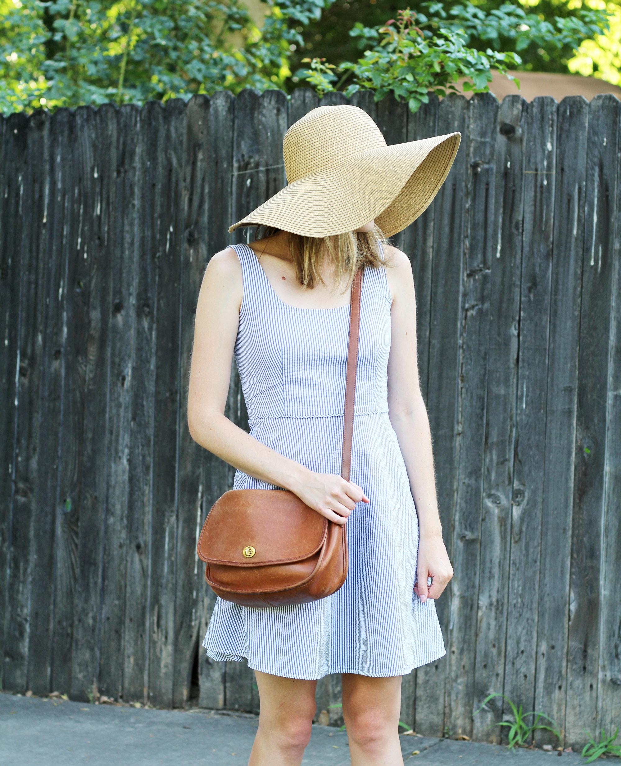 Floppy sun hat with seersucker dress and vintage Coach bag — Cotton Cashmere Cat Hair