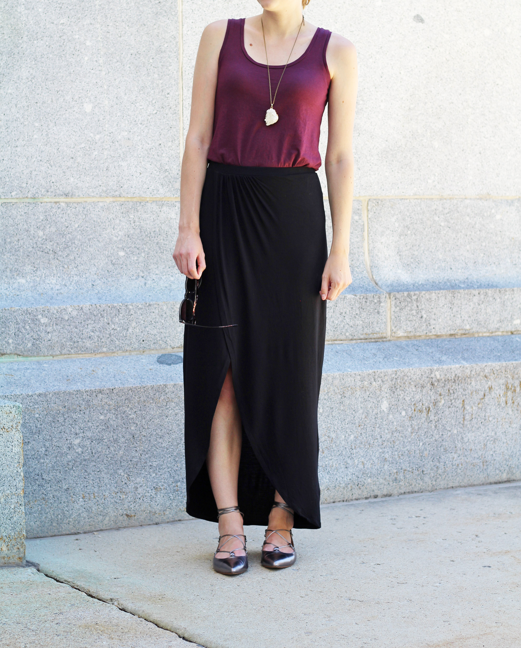 Black maxi skirt outfit with burgundy tank and pewter lace-up flats — Cotton Cashmere Cat Hair