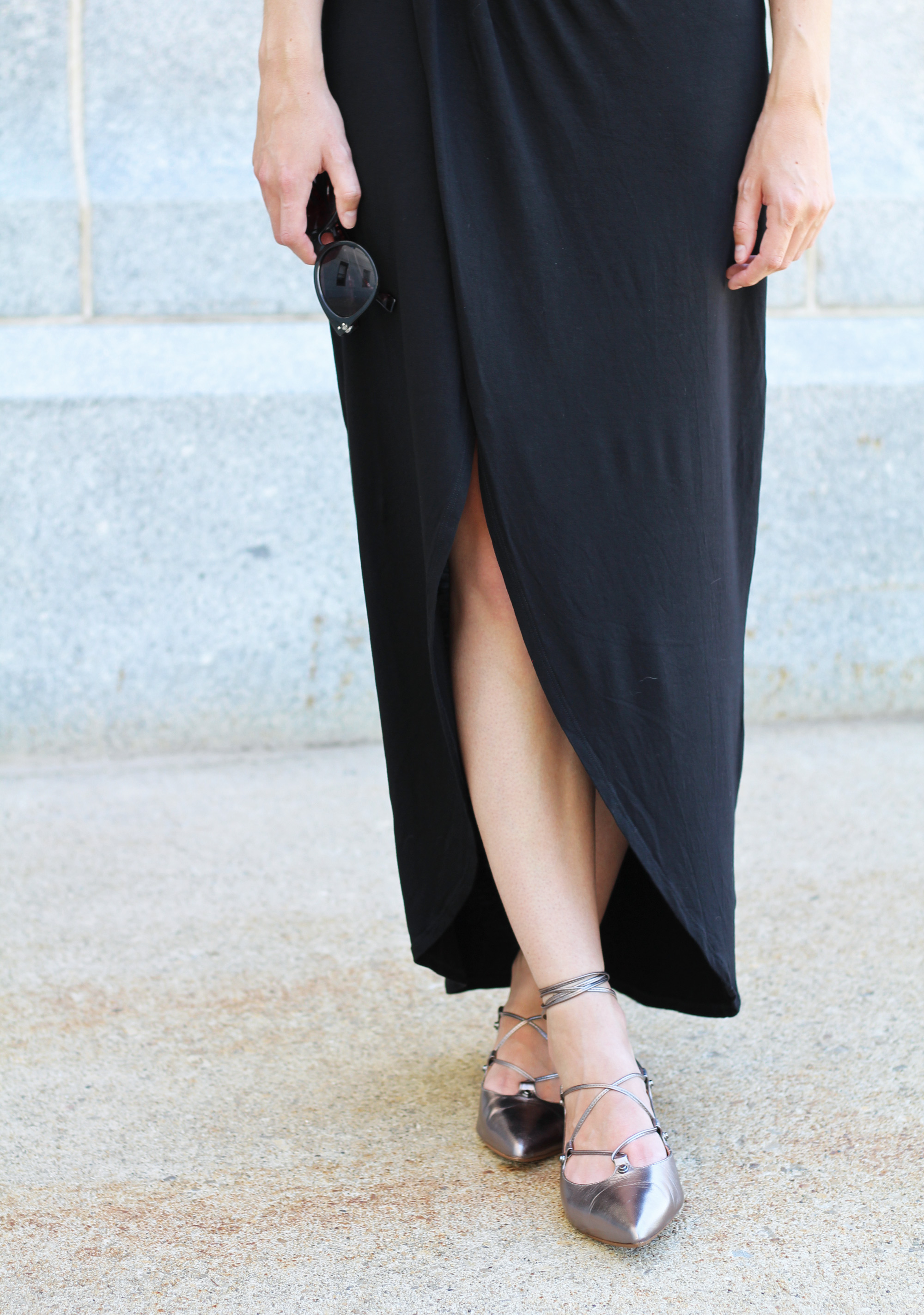 Black maxi skirt + Halogen pewter metallic lace-up flats — Cotton Cashmere Cat Hair