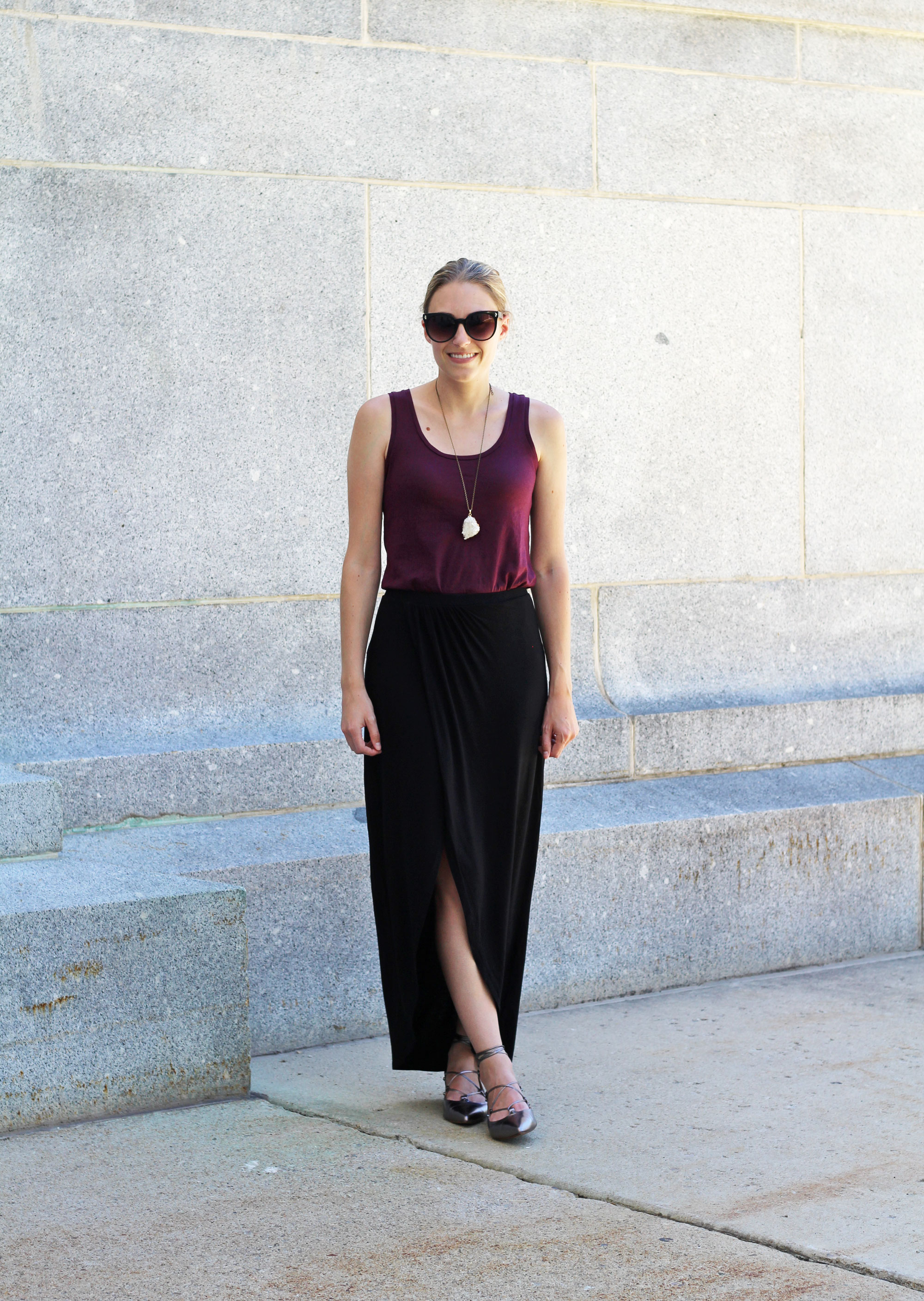 Burgundy tank top, black maxi skirt, pewter metallic lace-up flats, quartz pendant necklace — Cotton Cashmere Cat Hair