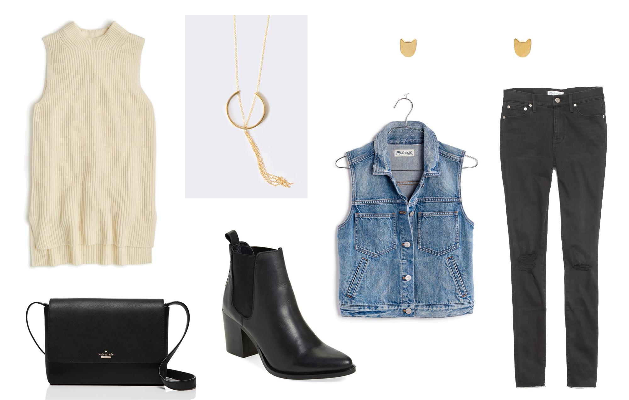 Pre-fall favorites: sweater vest, pendant necklace, black ankle boots, black denim — Cotton Cashmere Cat Hair