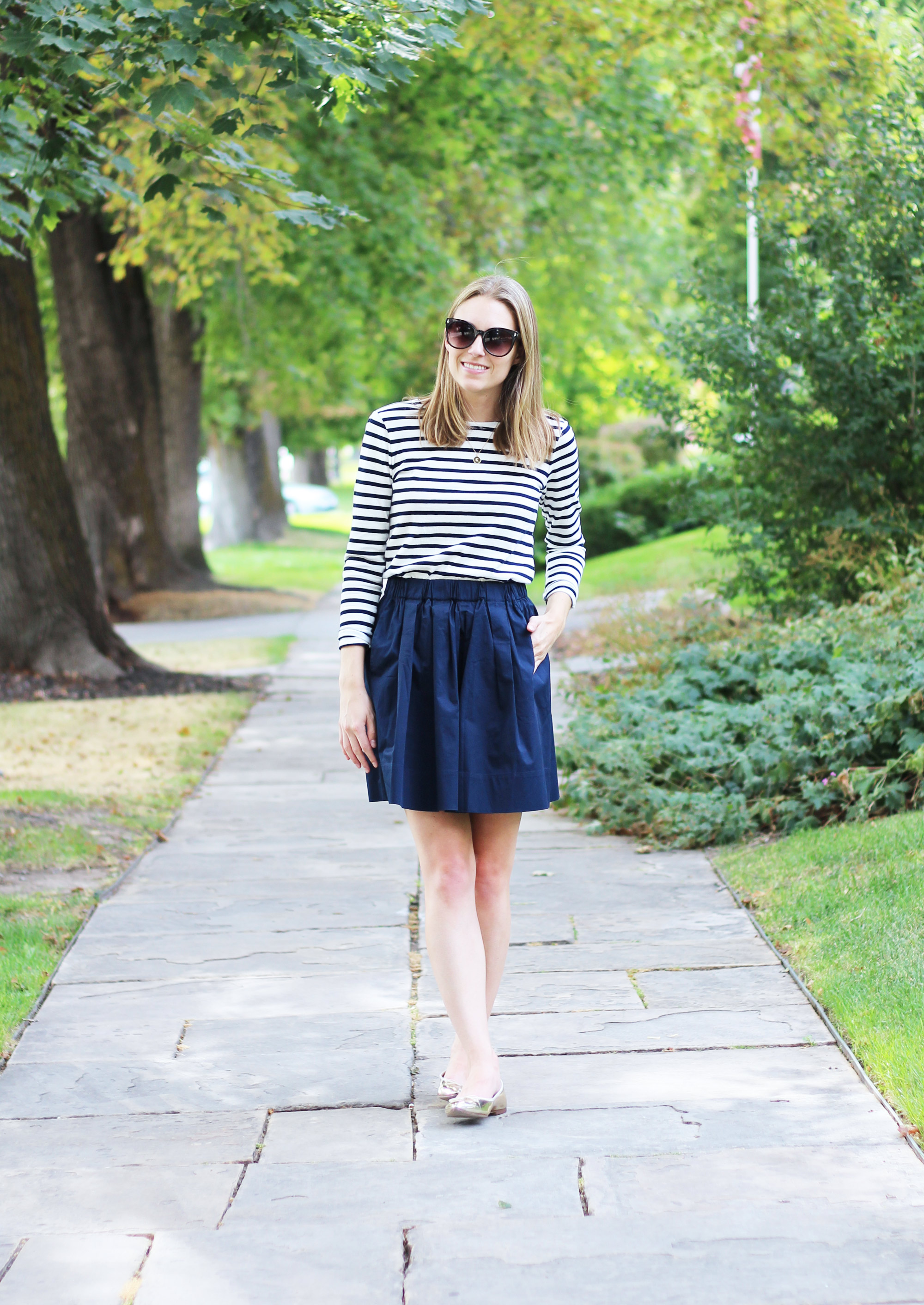 Navy striped tee, Everlane navy cotton poplin skirt, gold flats — Cotton Cashmere Cat Hair
