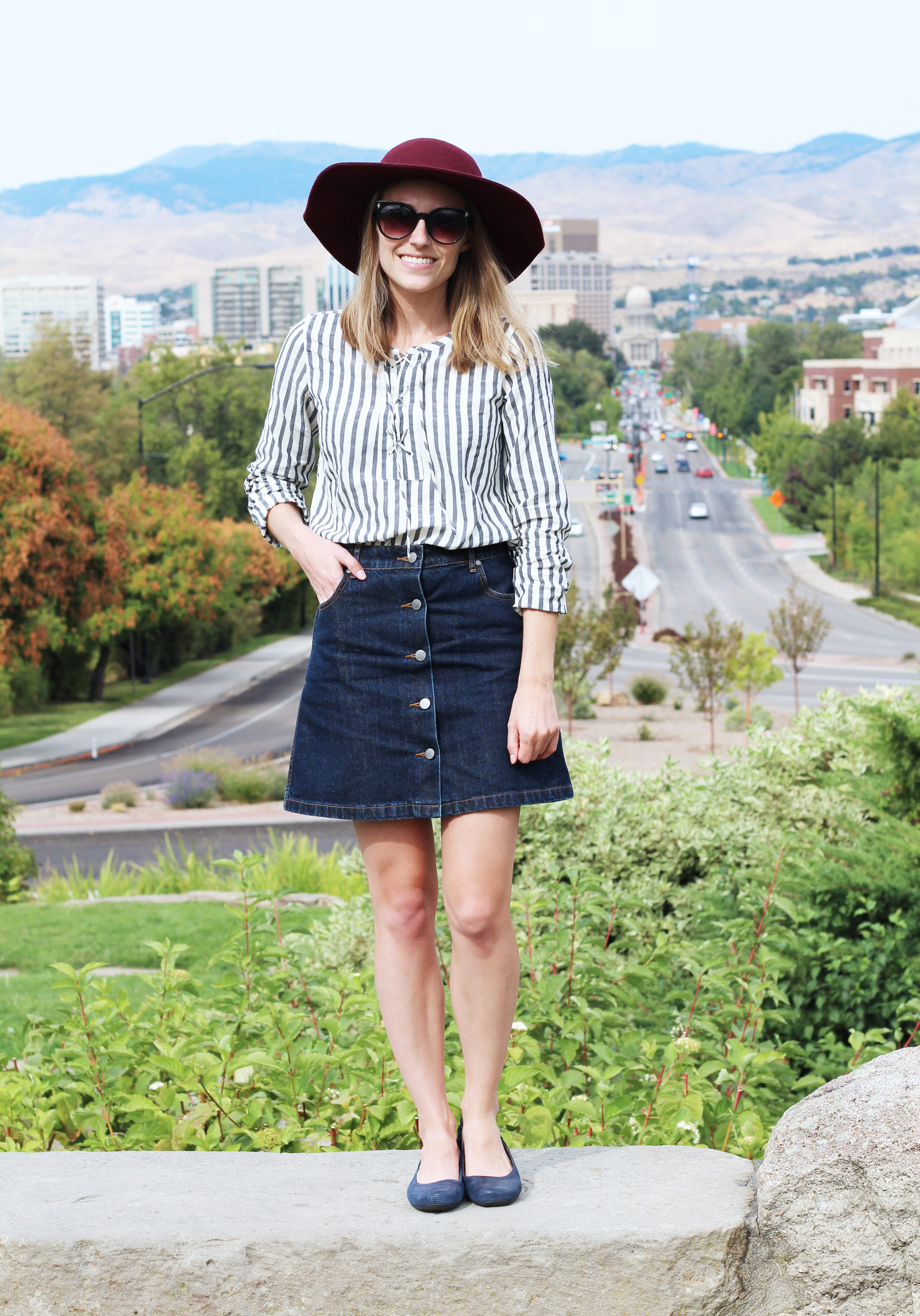 Navy Earthies 'Tolo' textured suede flats with lace-up blouse, denim skirt, floppy hat — Cotton Cashmere Cat Hair