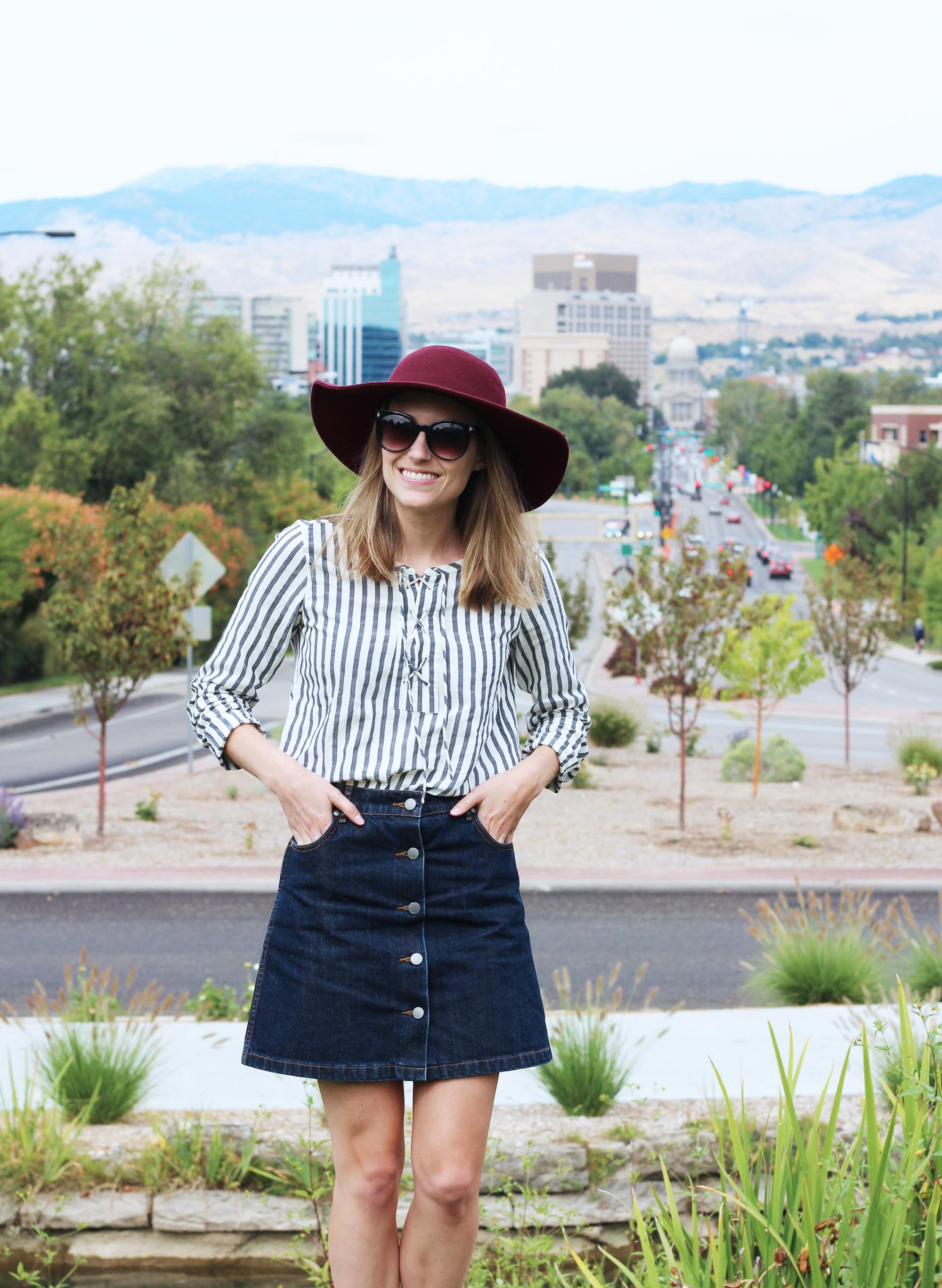 Loft striped lace-up blouse, Grana denim skirt, Leith felt floppy hat — Cotton Cashmere Cat Hair