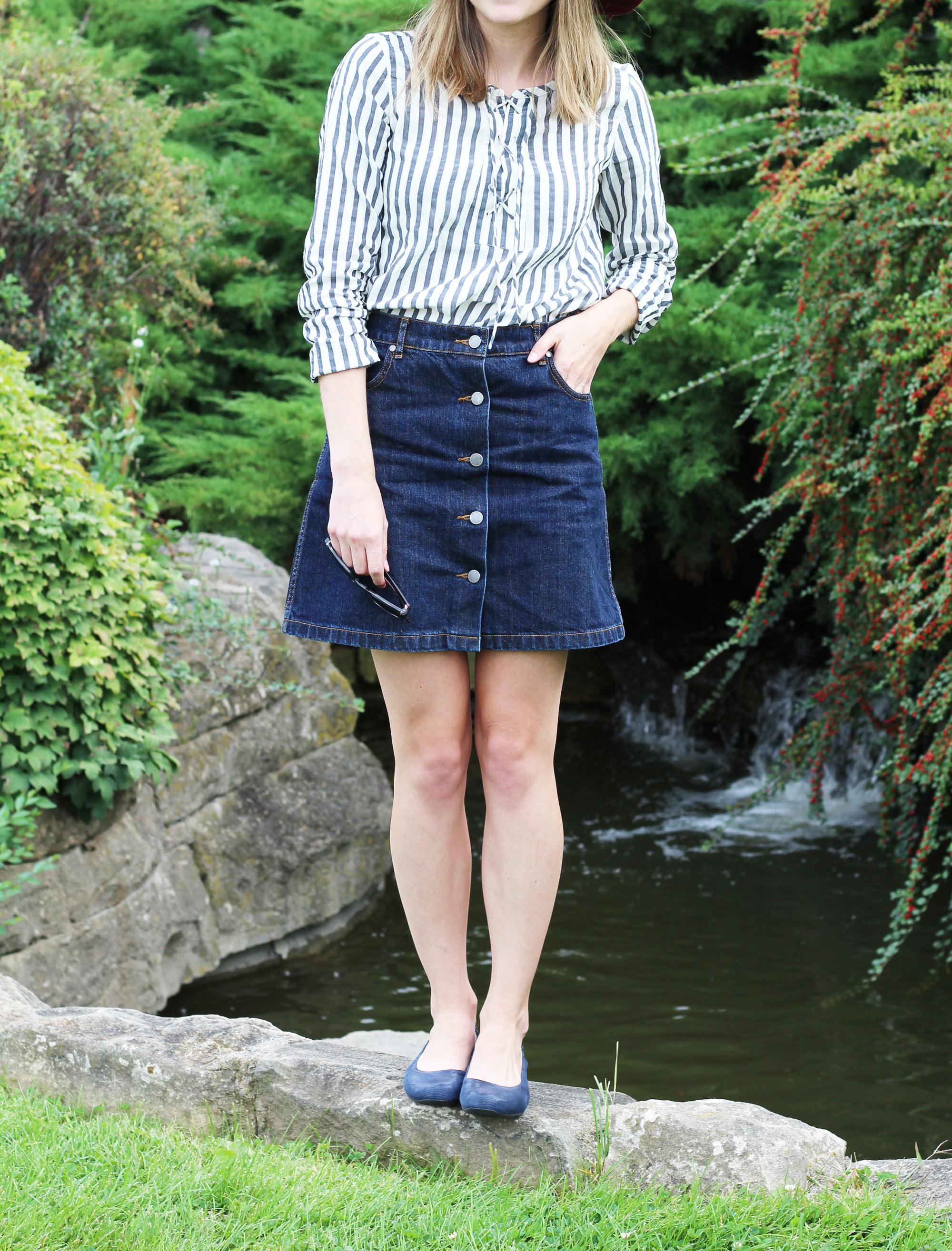Earthies navy 'Tolo' flats + striped lace-up blouse + denim skirt — Cotton Cashmere Cat Hair