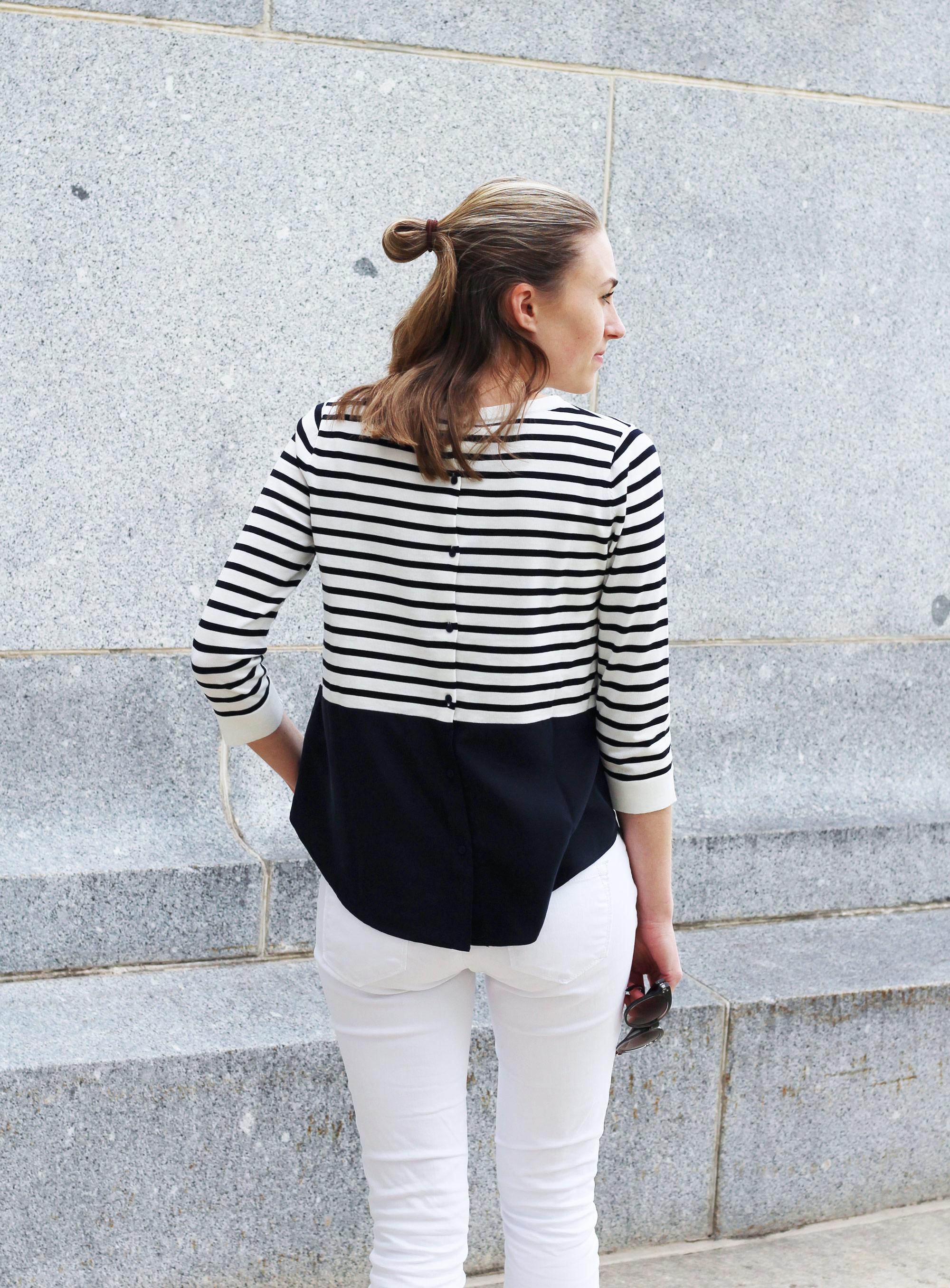 COS silk panel stripe jumper + white skinny jeans — Cotton Cashmere Cat Hair