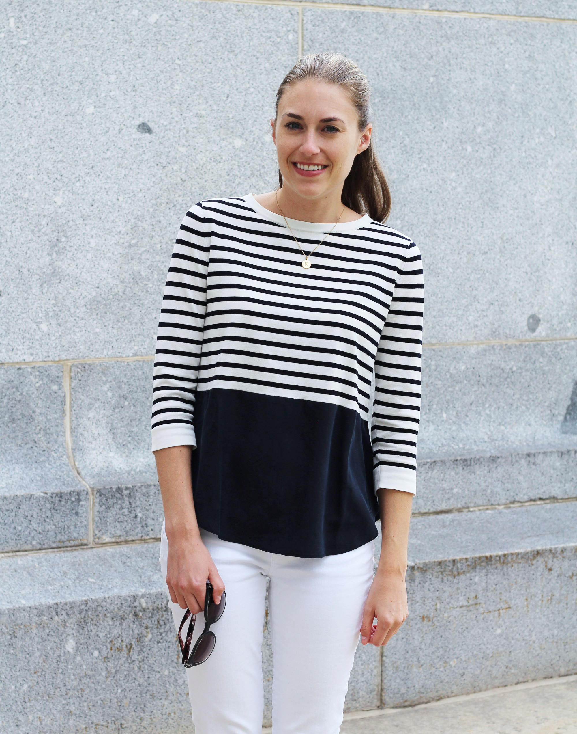 Navy stripes + white denim for fall — Cotton Cashmere Cat Hair