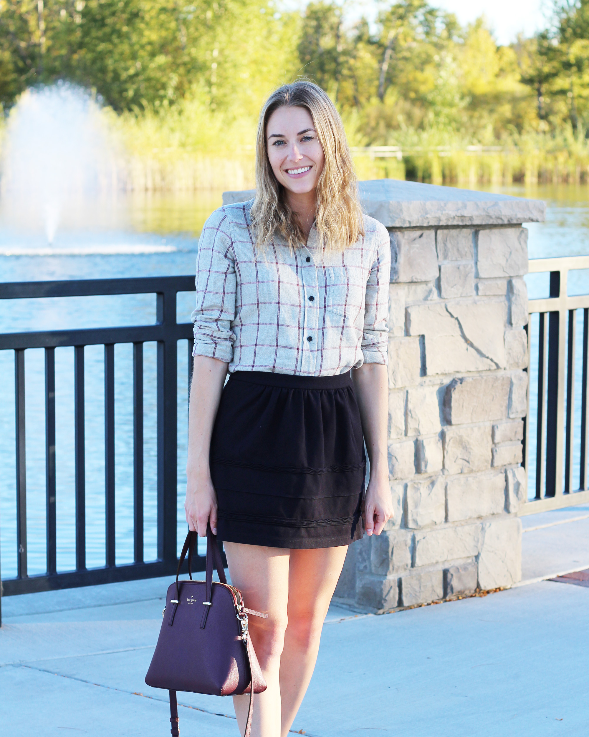 Kate Spade 'Cedar Street Maise' bag with grey windowpane flannel shirt and black mini skirt — Cotton Cashmere Cat Hair