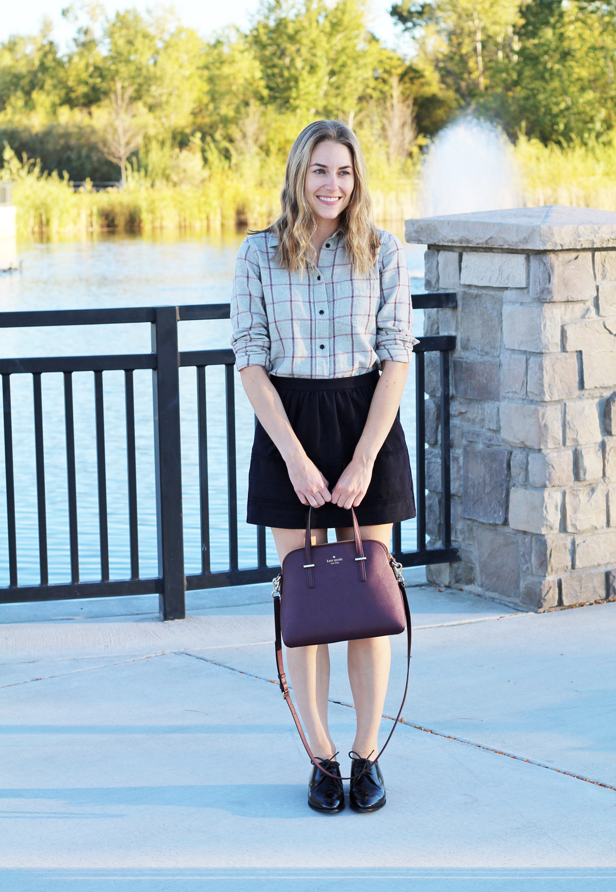 Grey windowpane flannel shirt with black mini skirt, shiny black oxfords, and burgundy Kate Spade bag — Cotton Cashmere Cat Hair