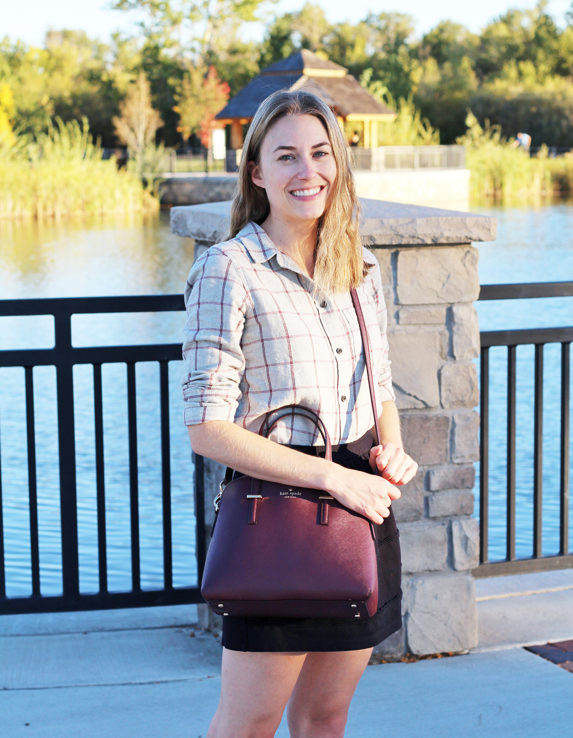 Fall outfit: Grey flannel shirt + black skirt + burgundy bag — Cotton Cashmere Cat Hair