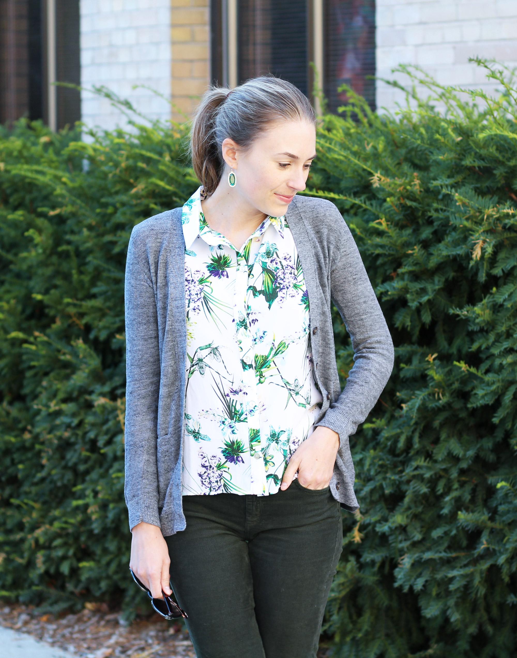 Tropical-print silk shirt with grey cardigan, green corduroy pants, Kendra Scott earrings — Cotton Cashmere Cat Hair