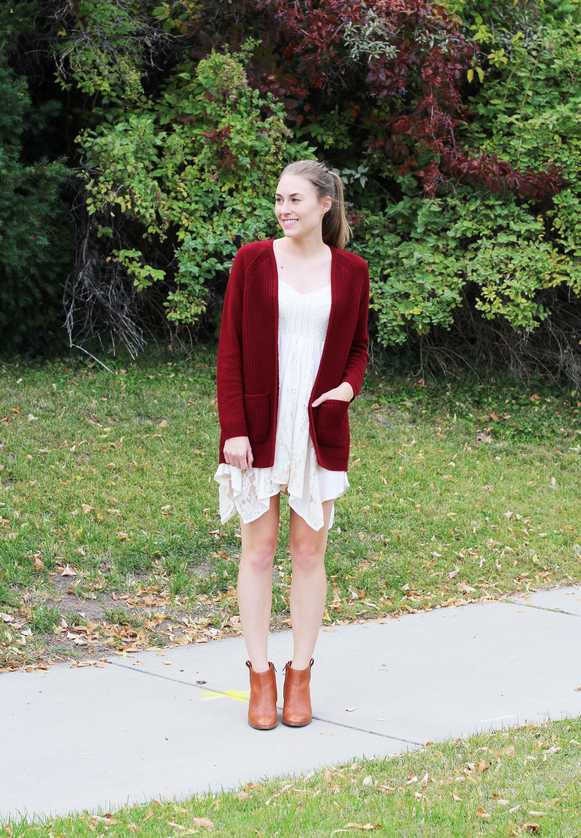 Lace dress outfit with dark red cardigan and ankle boots — Cotton Cashmere Cat Hair