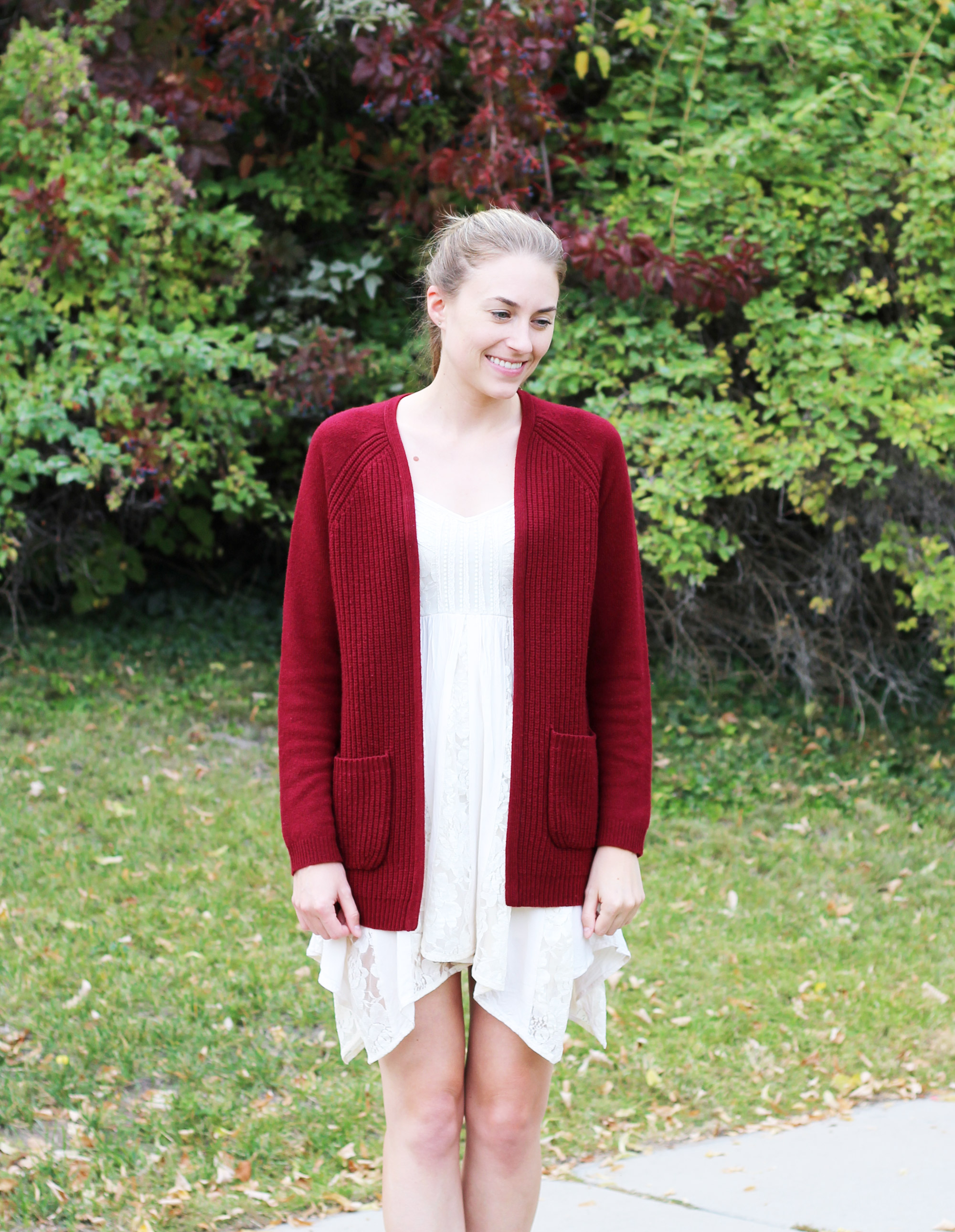 Burgundy open cardigan with lace dress — Cotton Cashmere Cat Hair