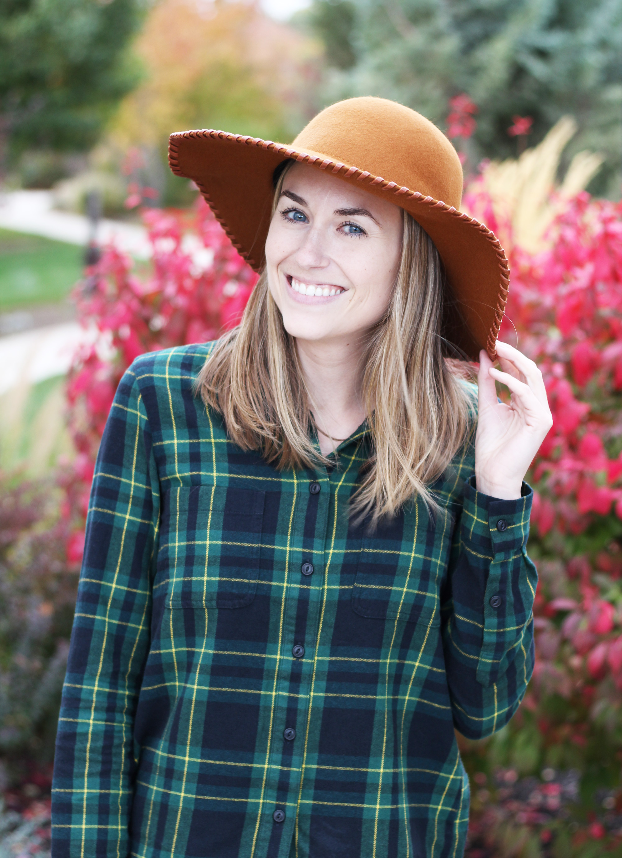 Rust wool floppy hat with green plaid flannel shirt — Cotton Cashmere Cat Hair
