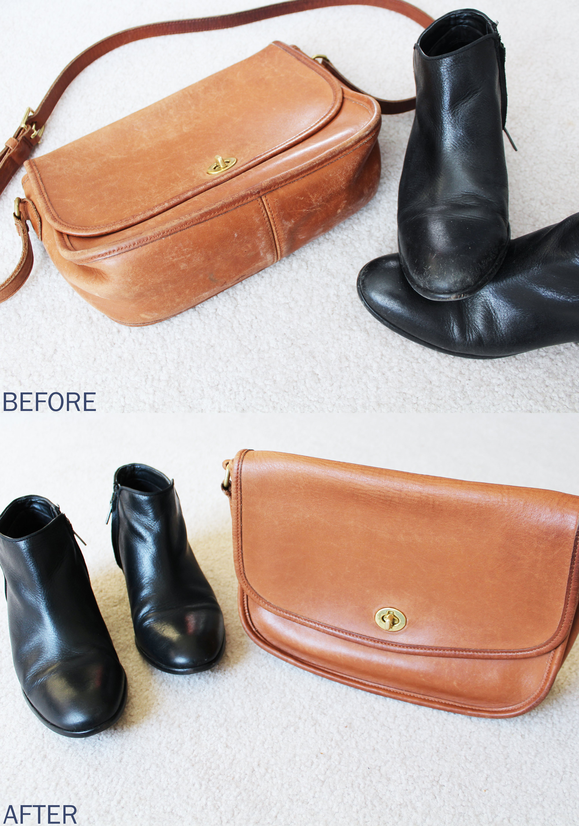 How to clean leather shoes and bags — via Cotton Cashmere Cat Hair