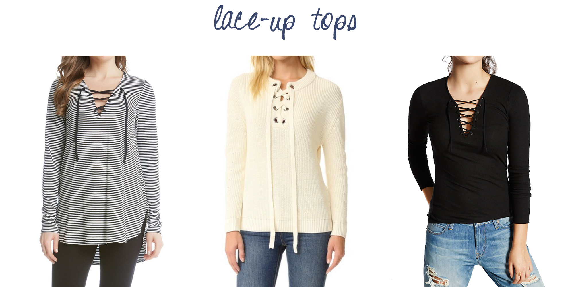 Trend to try: Lace-up tops — via Cotton Cashmere Cat Hair