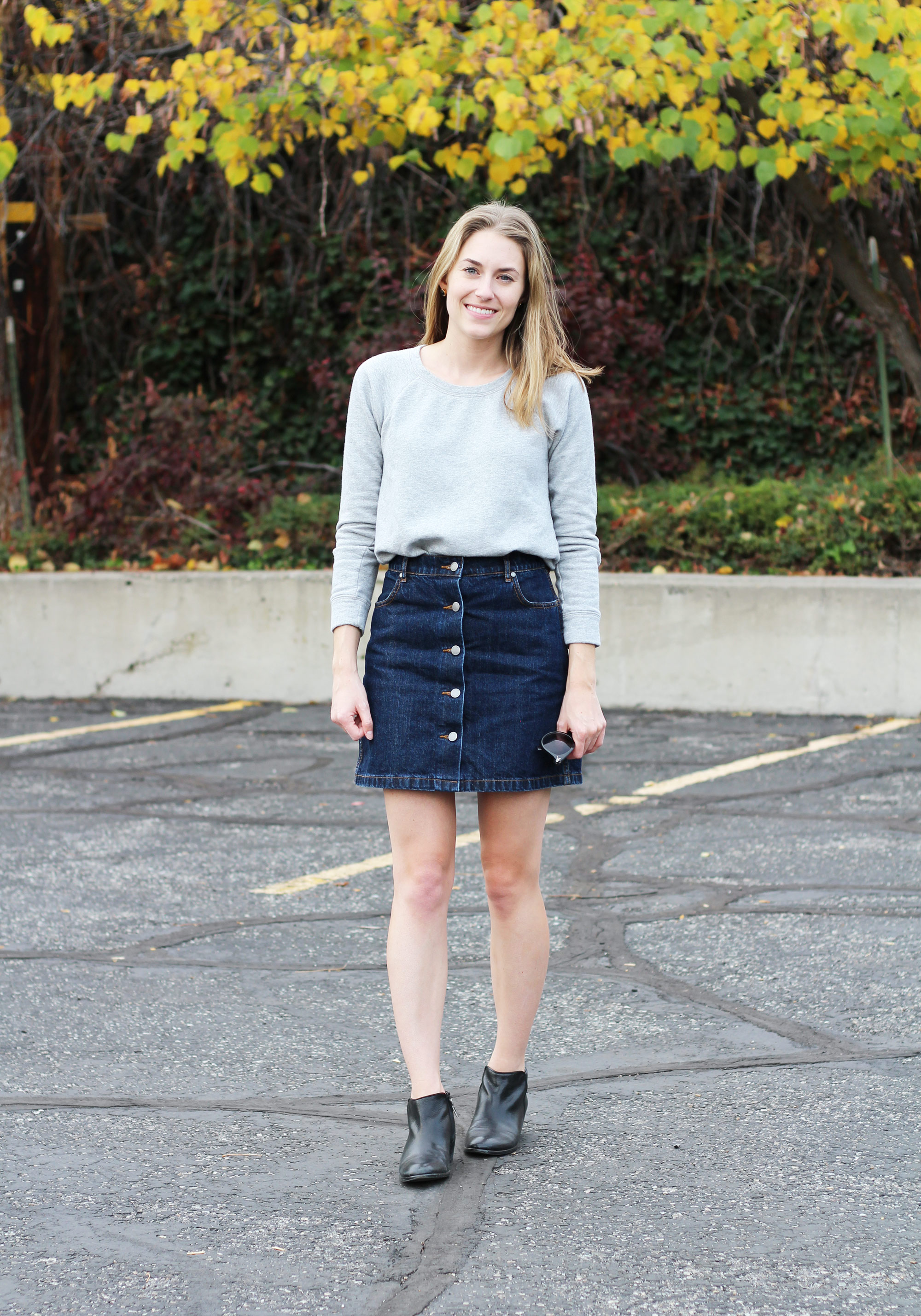 Grana A-line denim skirt with grey sweatshirt and black ankle boots — Cotton Cashmere Cat Hair