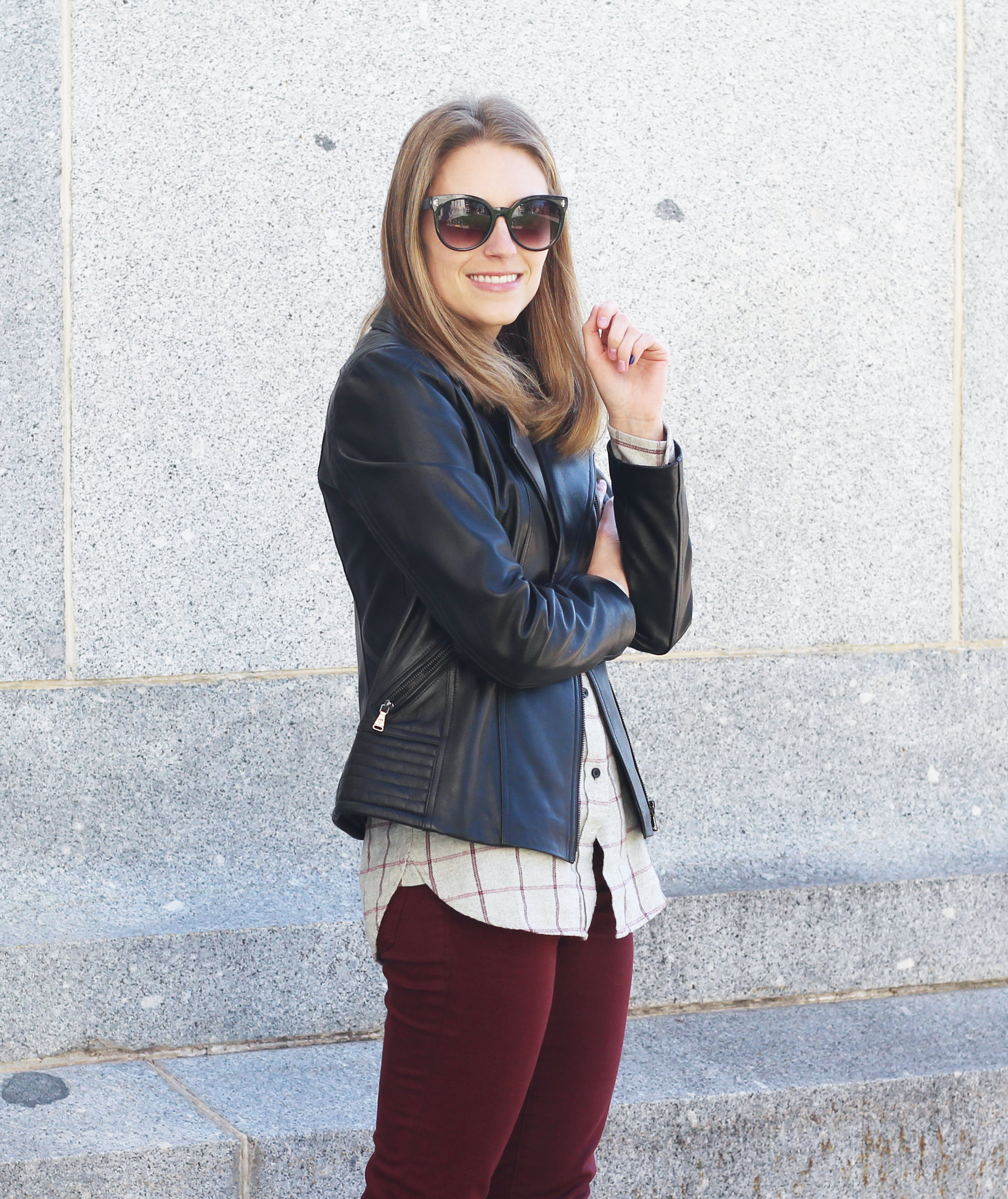 Leather jacket outfit with grey flannel shirt and burgundy pants — Cotton Cashmere Cat Hair
