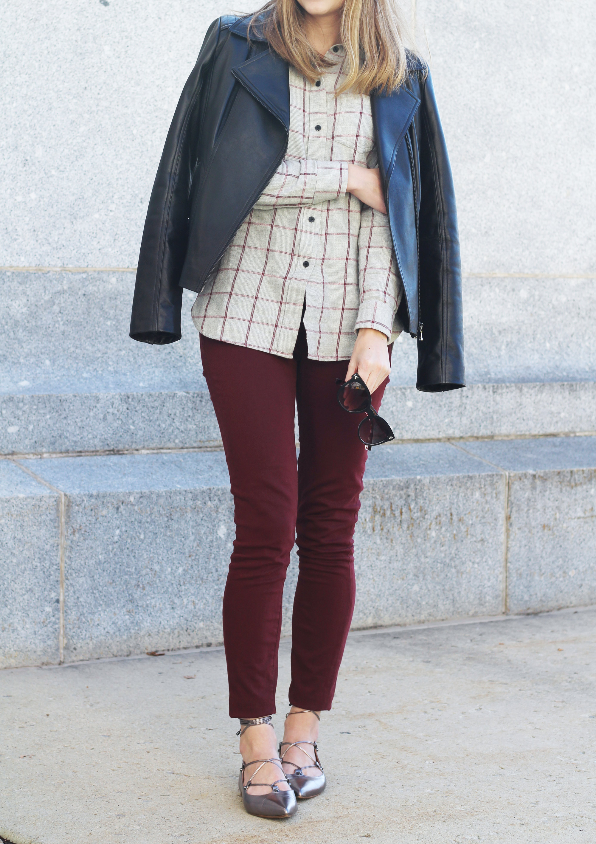 Fall outfit: Leather jacket, grey flannel shirt, burgundy pants, pewter lace-up flats — Cotton Cashmere Cat Hair