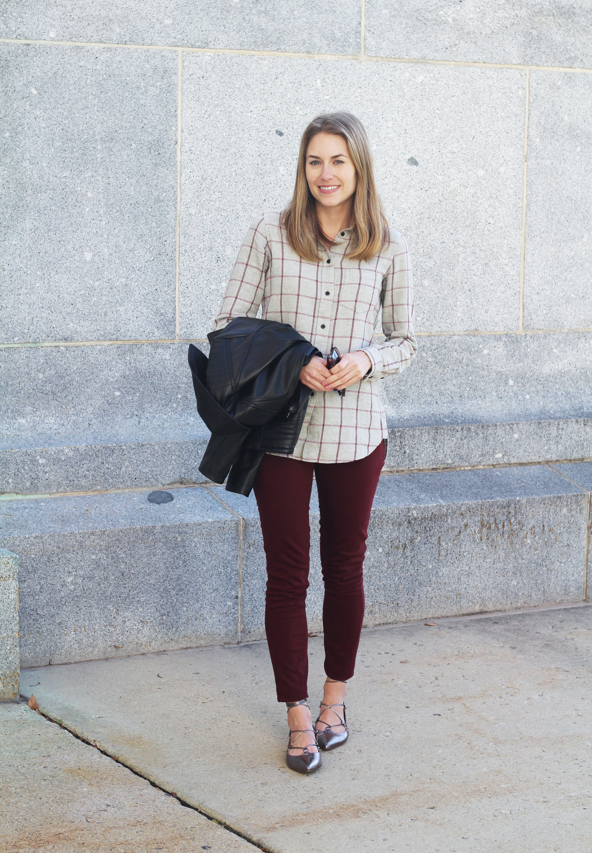 Pewter lace-up flats outfit with grey flannel shirt, burgundy pants, leather jacket — Cotton Cashmere Cat Hair