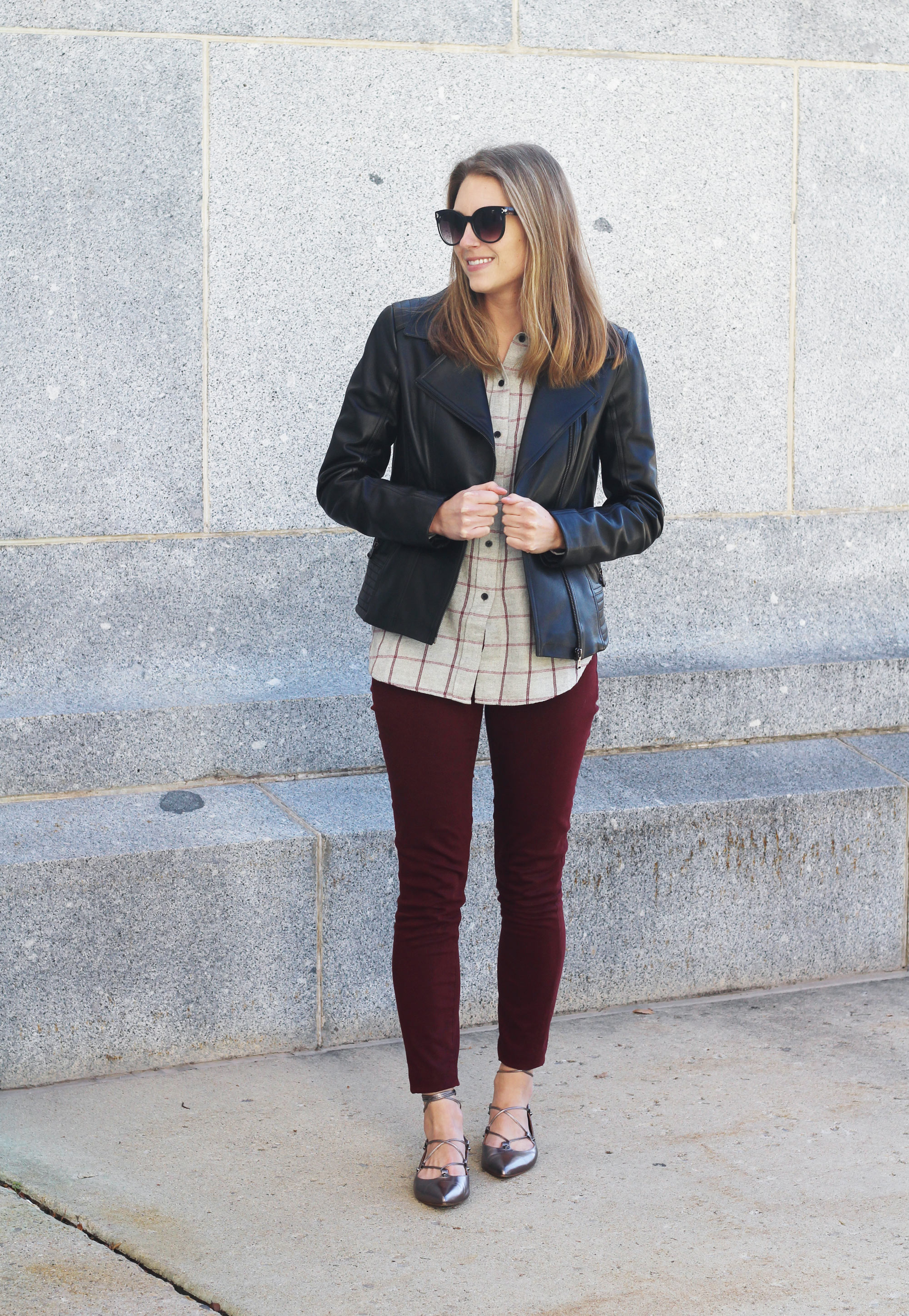 Leather jacket outfit with grey flannel shirt, burgundy pants, pewter lace-up flats — Cotton Cashmere Cat Hair
