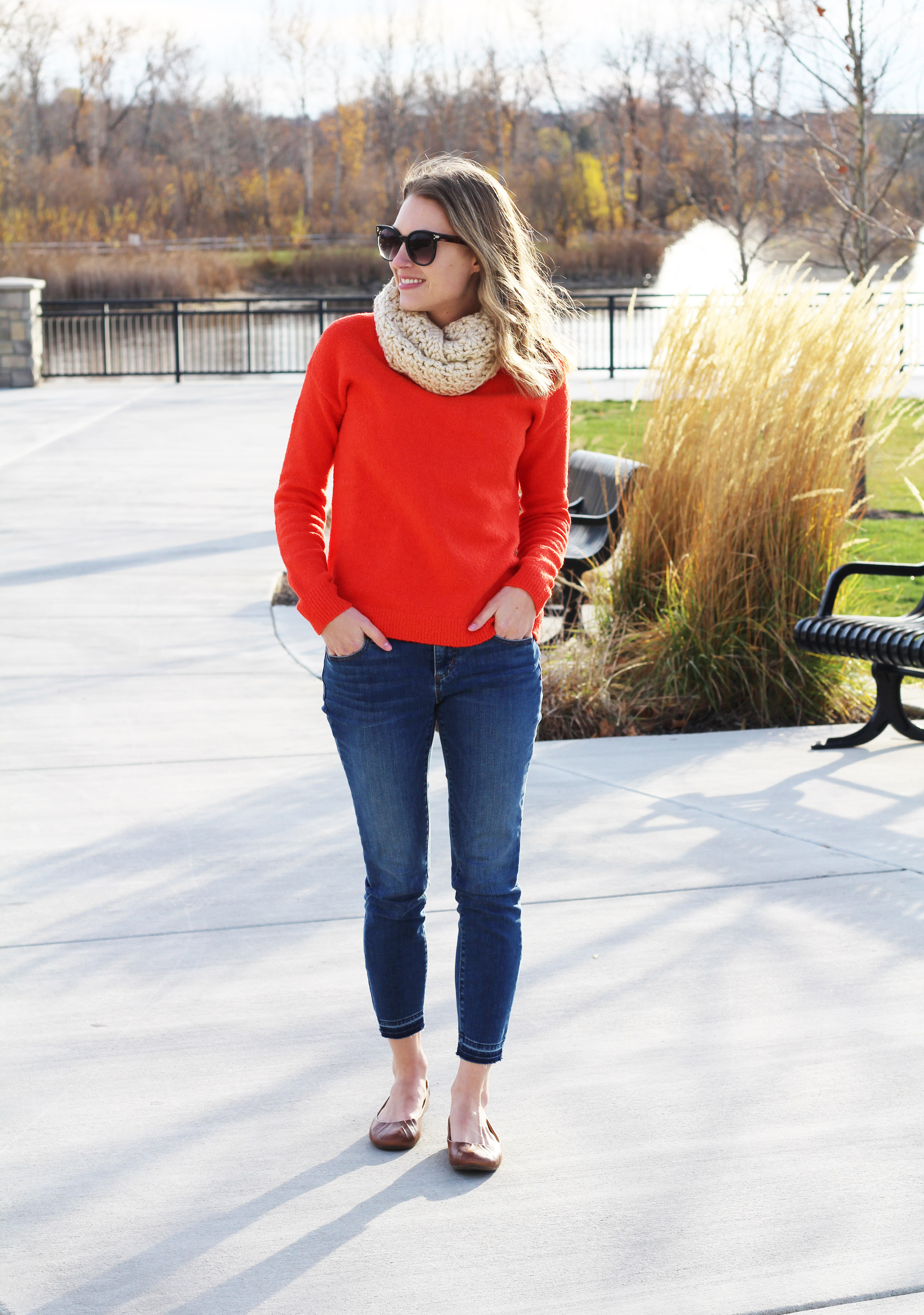 Bright red sweater outfit with skinny jeans and brown flats — Cotton Cashmere Cat Hair