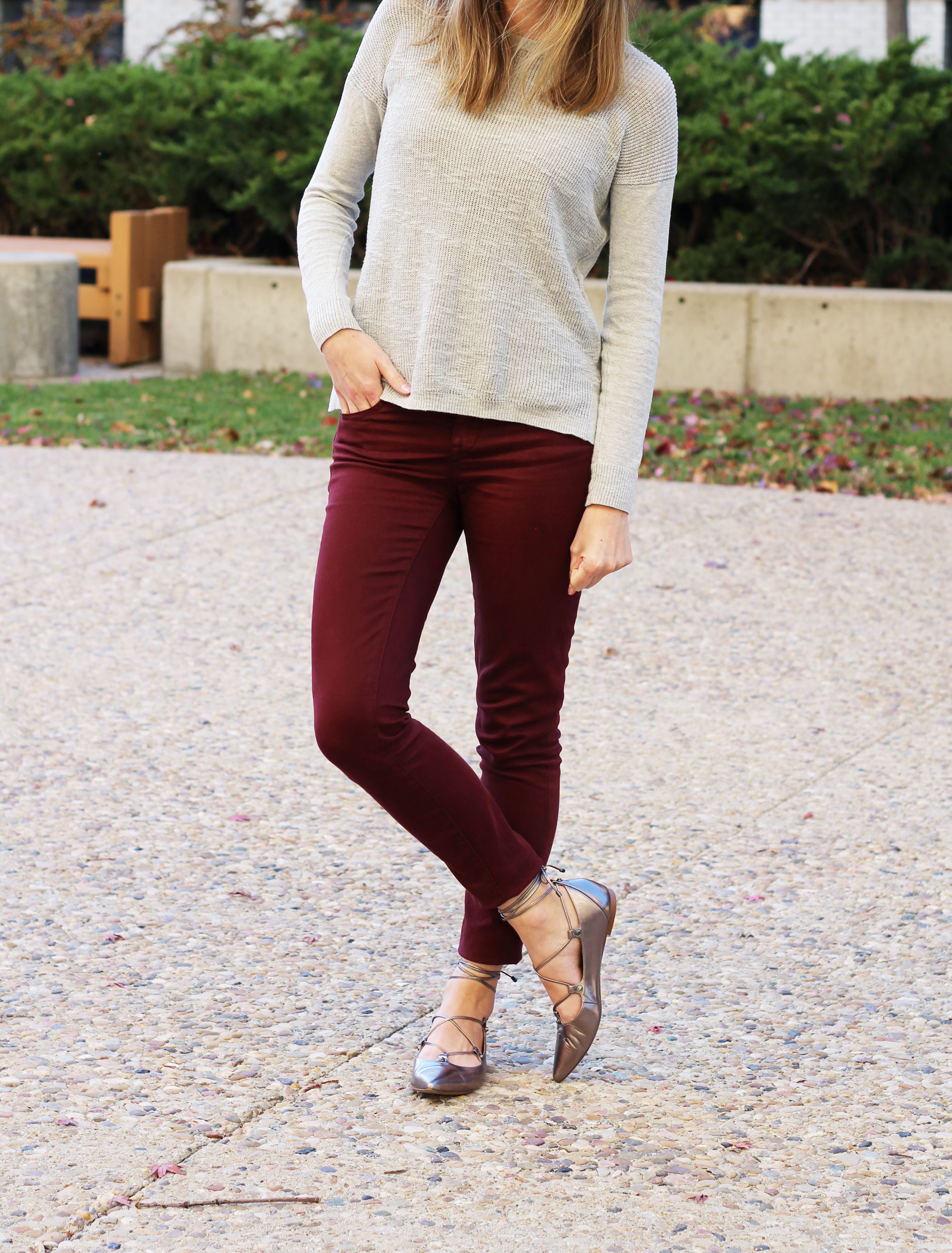 Grey sweater + burgundy pants + pewter lace-up flats — Cotton Cashmere Cat Hair
