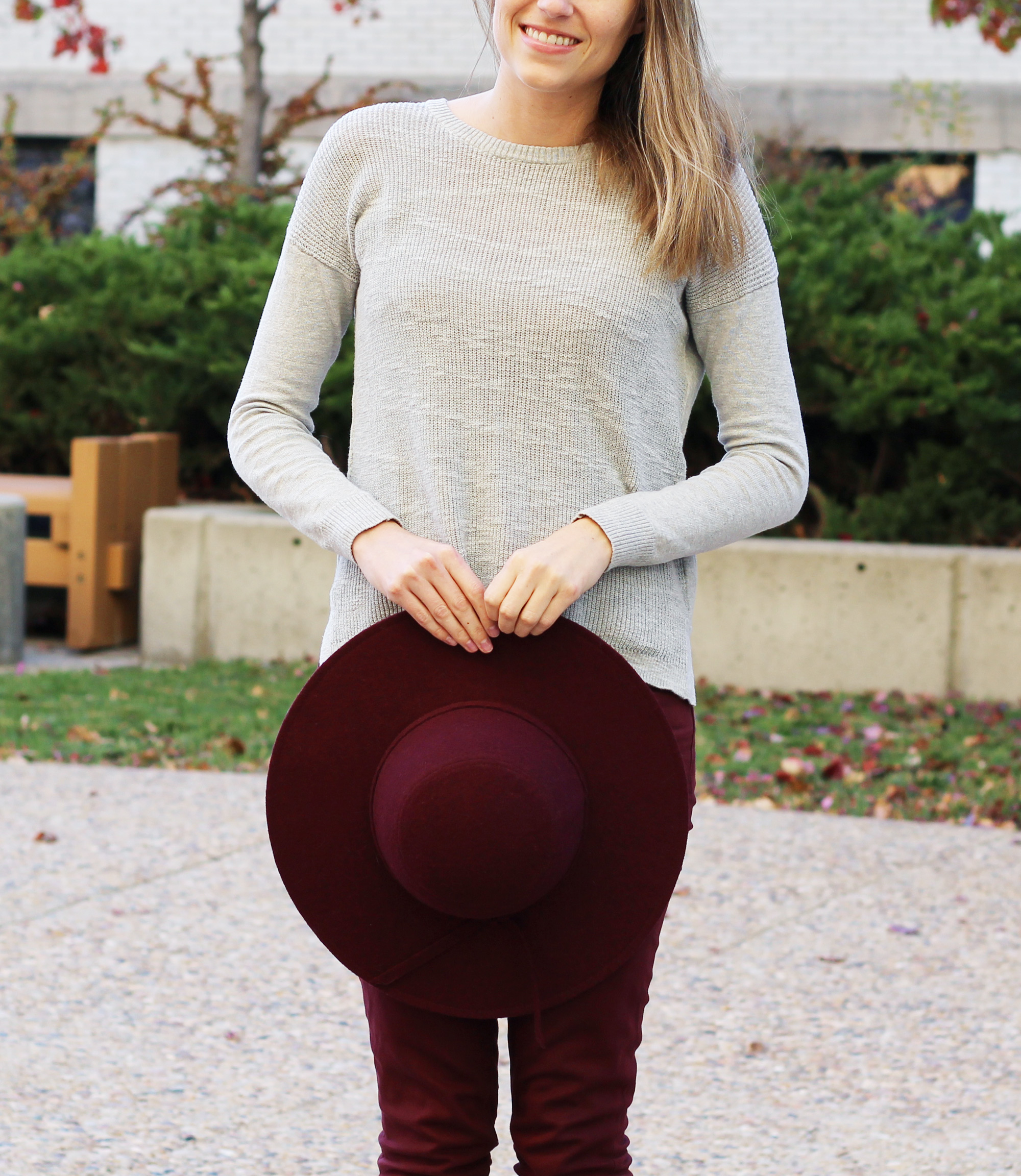 Burgundy hat outfit with grey sweater and burgundy pants — Cotton Cashmere Cat Hair