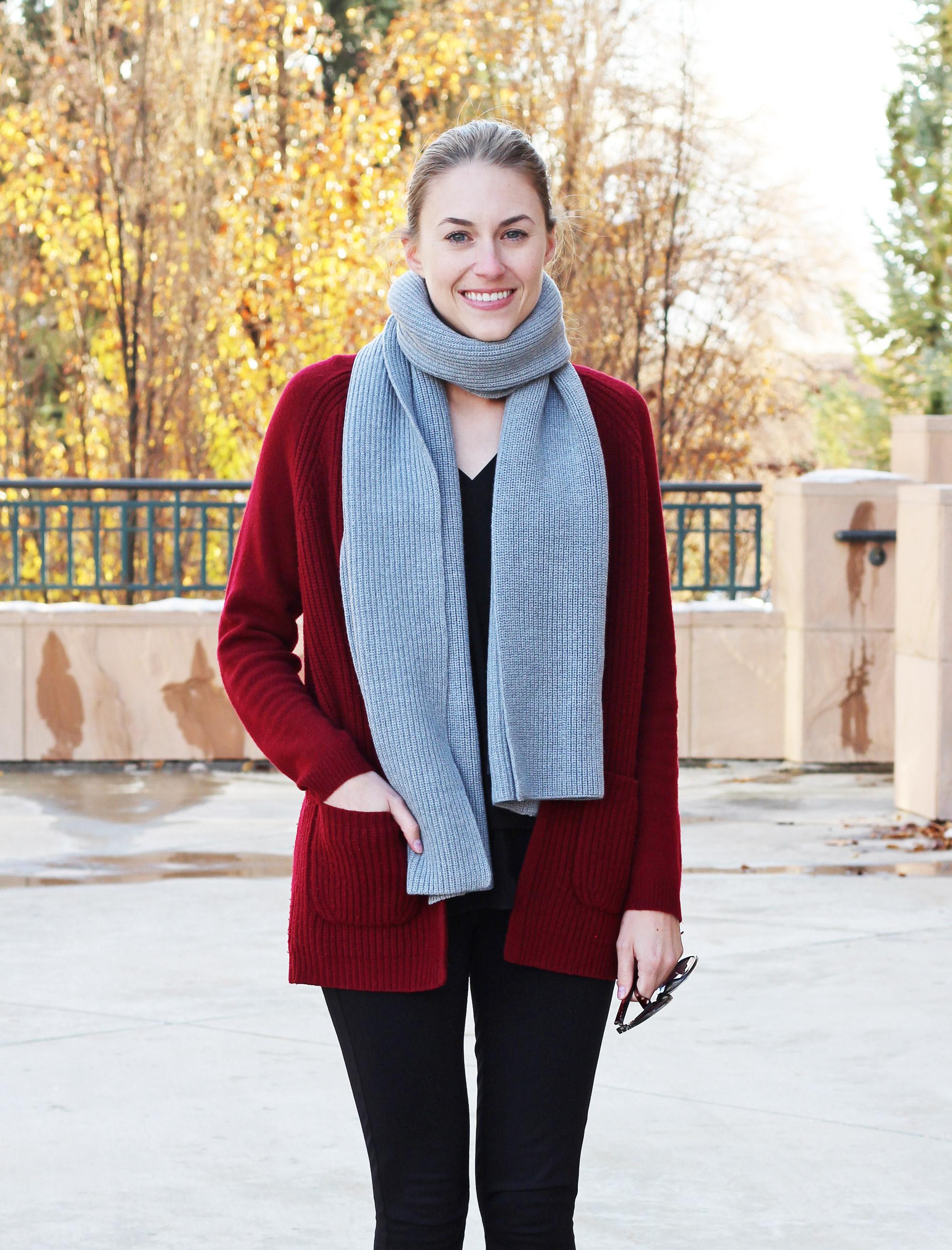 Grey wool scarf + burgundy wool cardigan — Cotton Cashmere Cat Hair