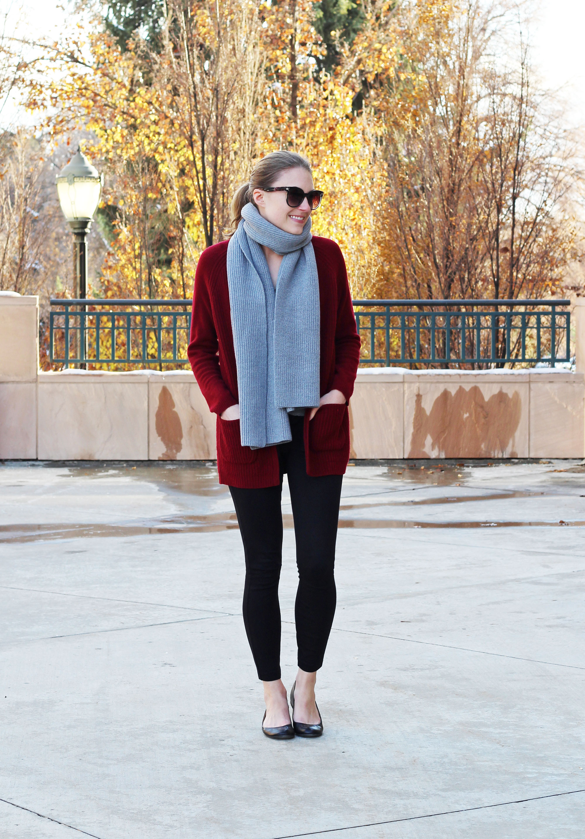Everlane chunky wool scarf with burgundy cardigan, black pants, black flats — Cotton Cashmere Cat Hair