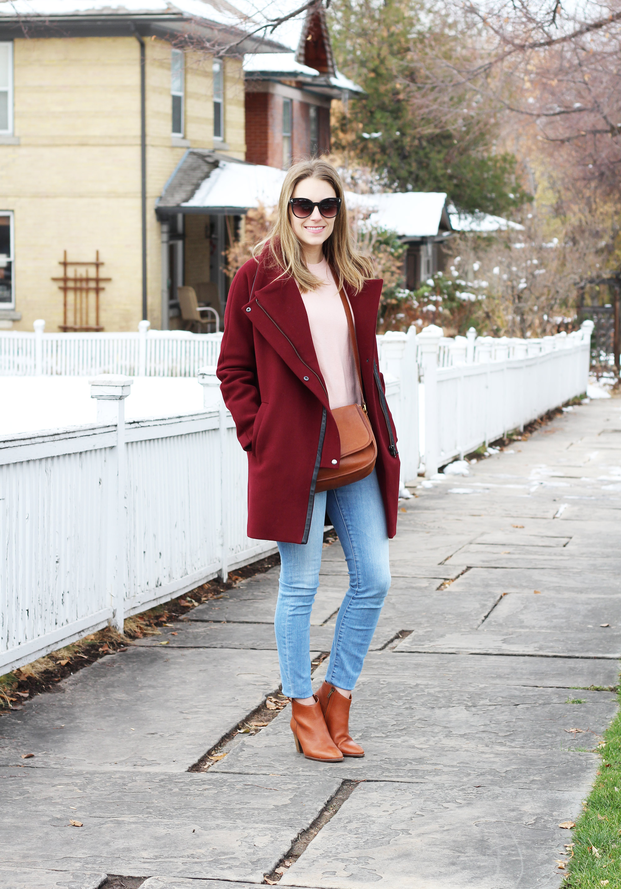 Burgundy coat outfit with pink sweater, jeans, ankle boots — Cotton Cashmere Cat Hair