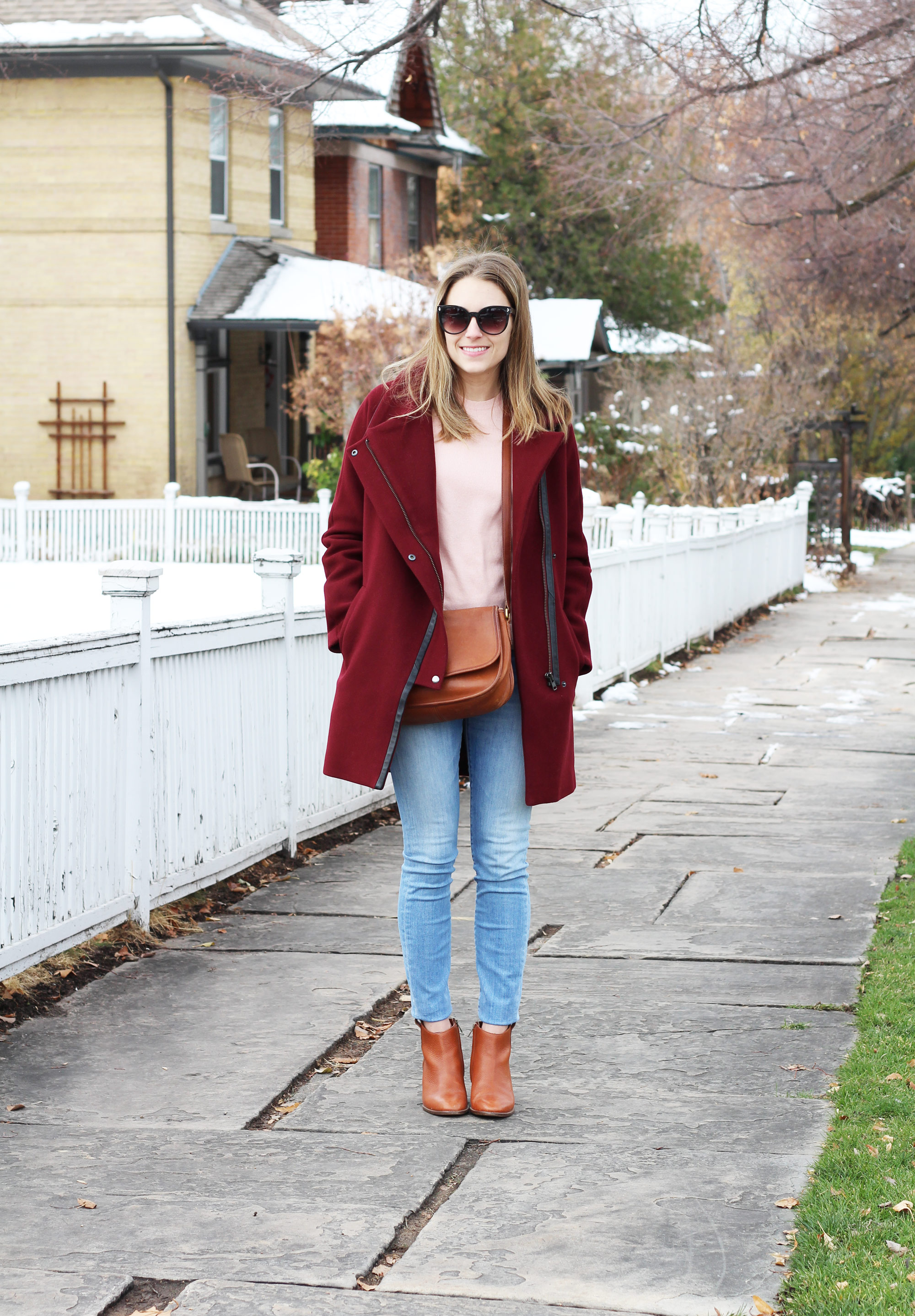 Madewell City Grid coat outfit with pink sweater, skinny jeans, Madewell Billie boots — Cotton Cashmere Cat Hair