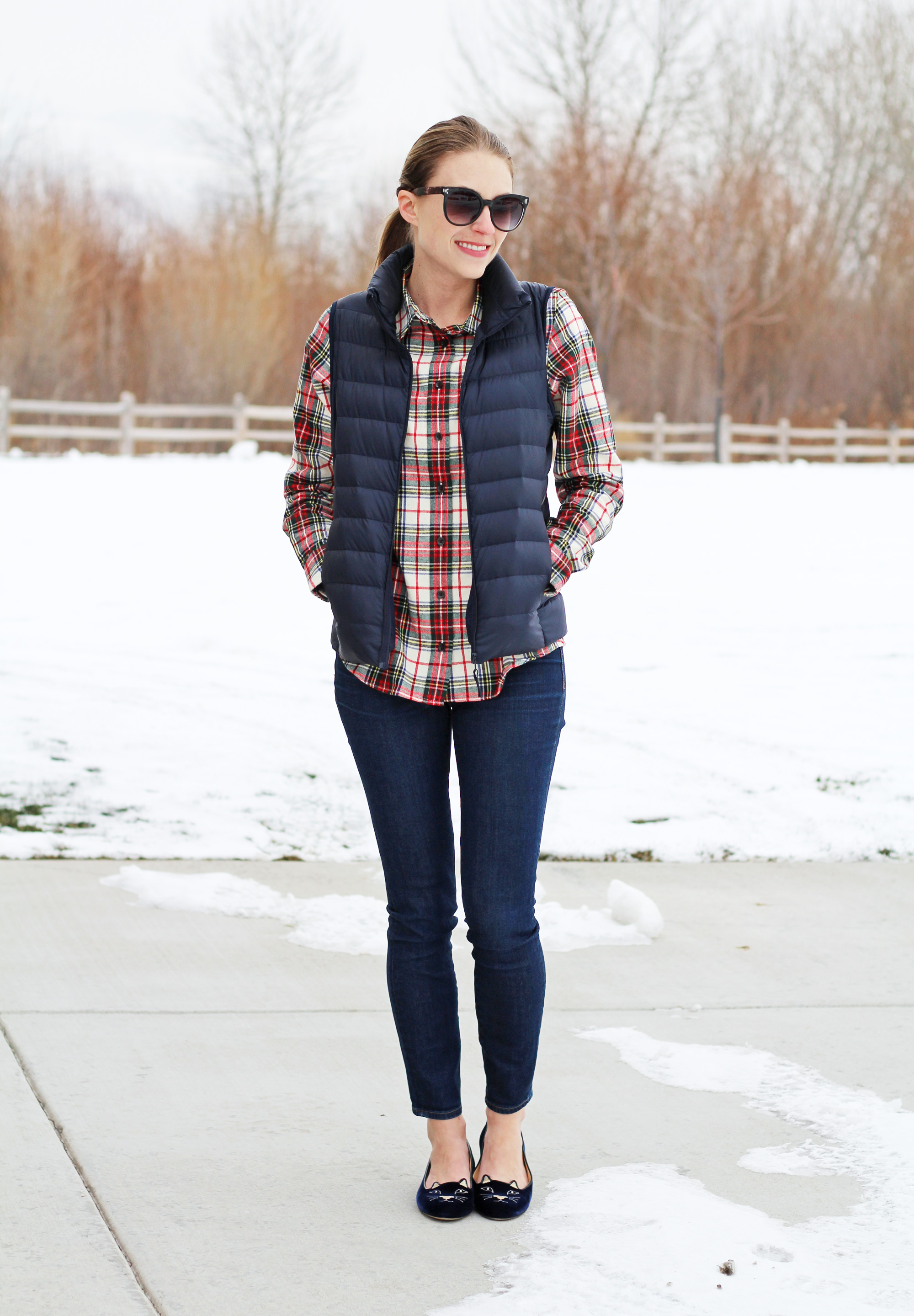 LLBean plaid shirt, navy down vest, skinny jeans, Charlotte Olympia Kitty flats — Cotton Cashmere Cat Hair