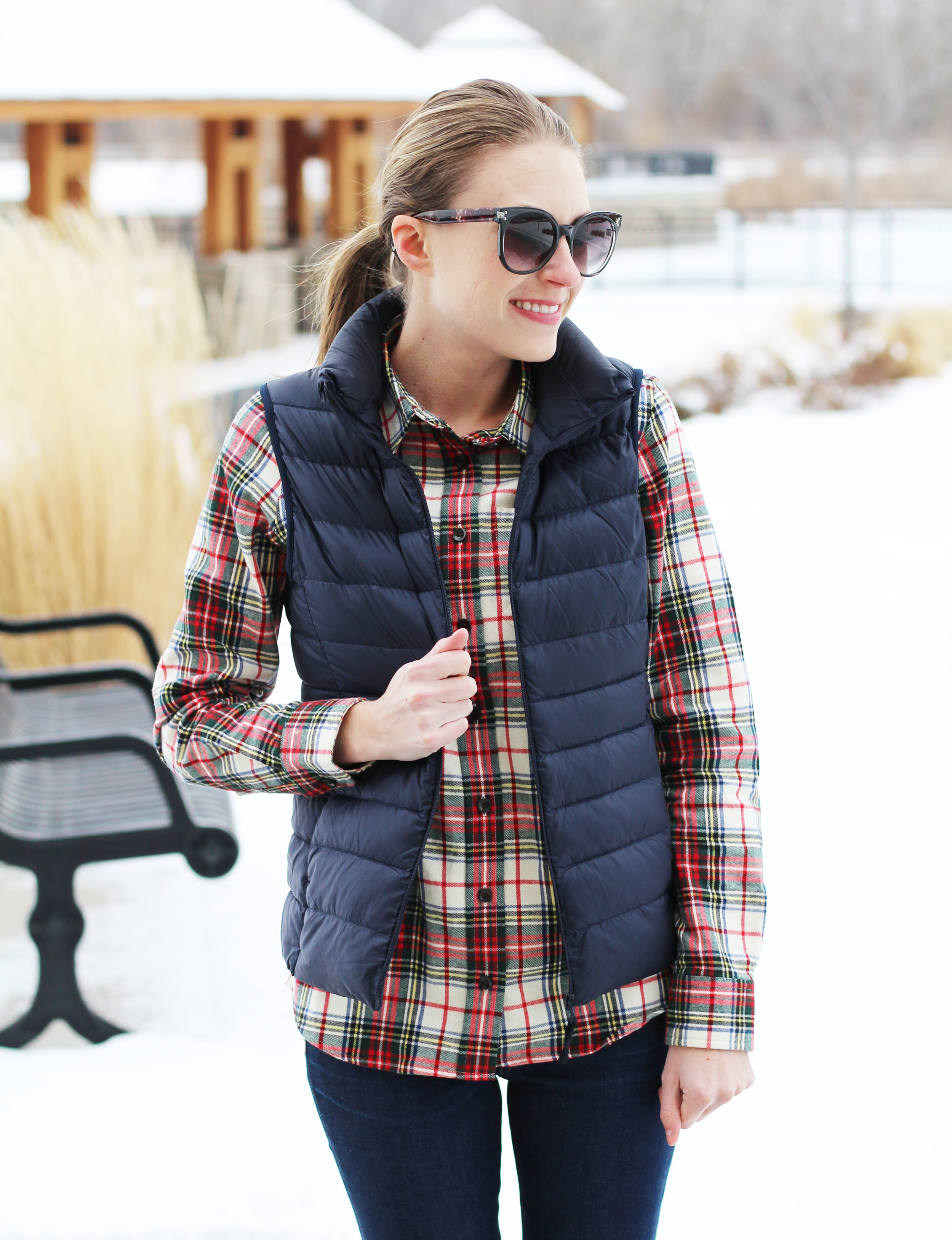 Uniqlo ultra light down vest outfit — Cotton Cashmere Cat Hair