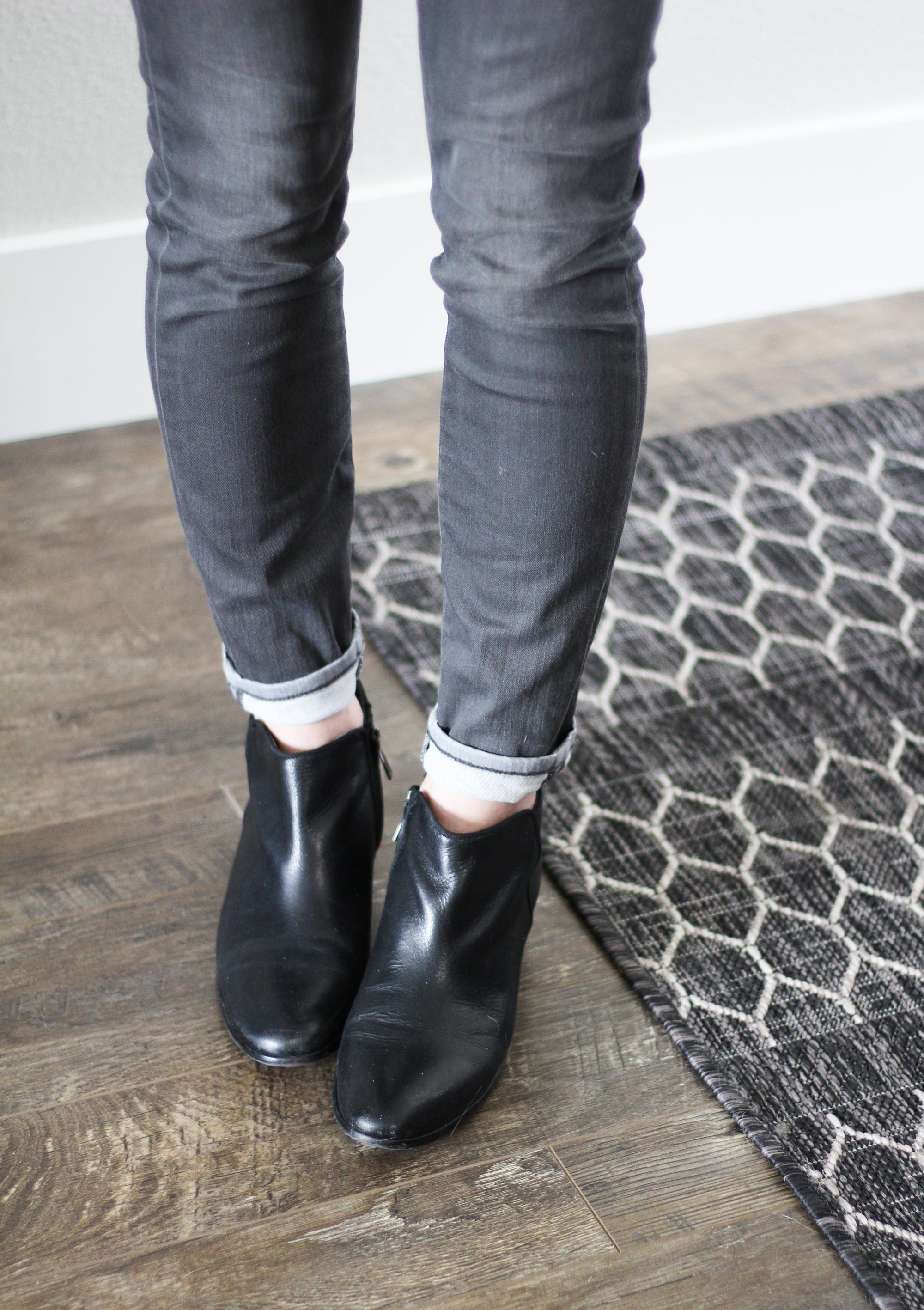 Black Sam Edelman Petty ankle boots with grey cuffed skinny jeans — Cotton Cashmere Cat Hair