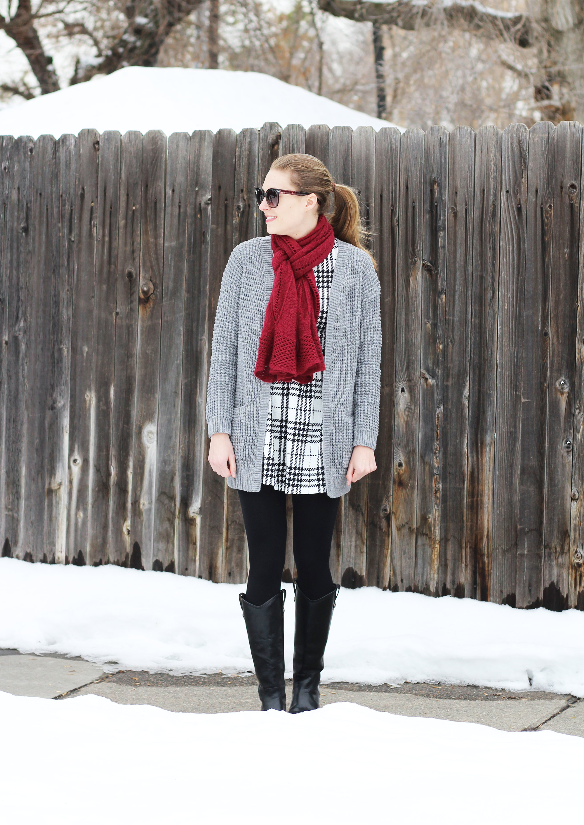 Chunky grey cardigan outfit with plaid dress and black tall boots — Cotton Cashmere Cat Hair
