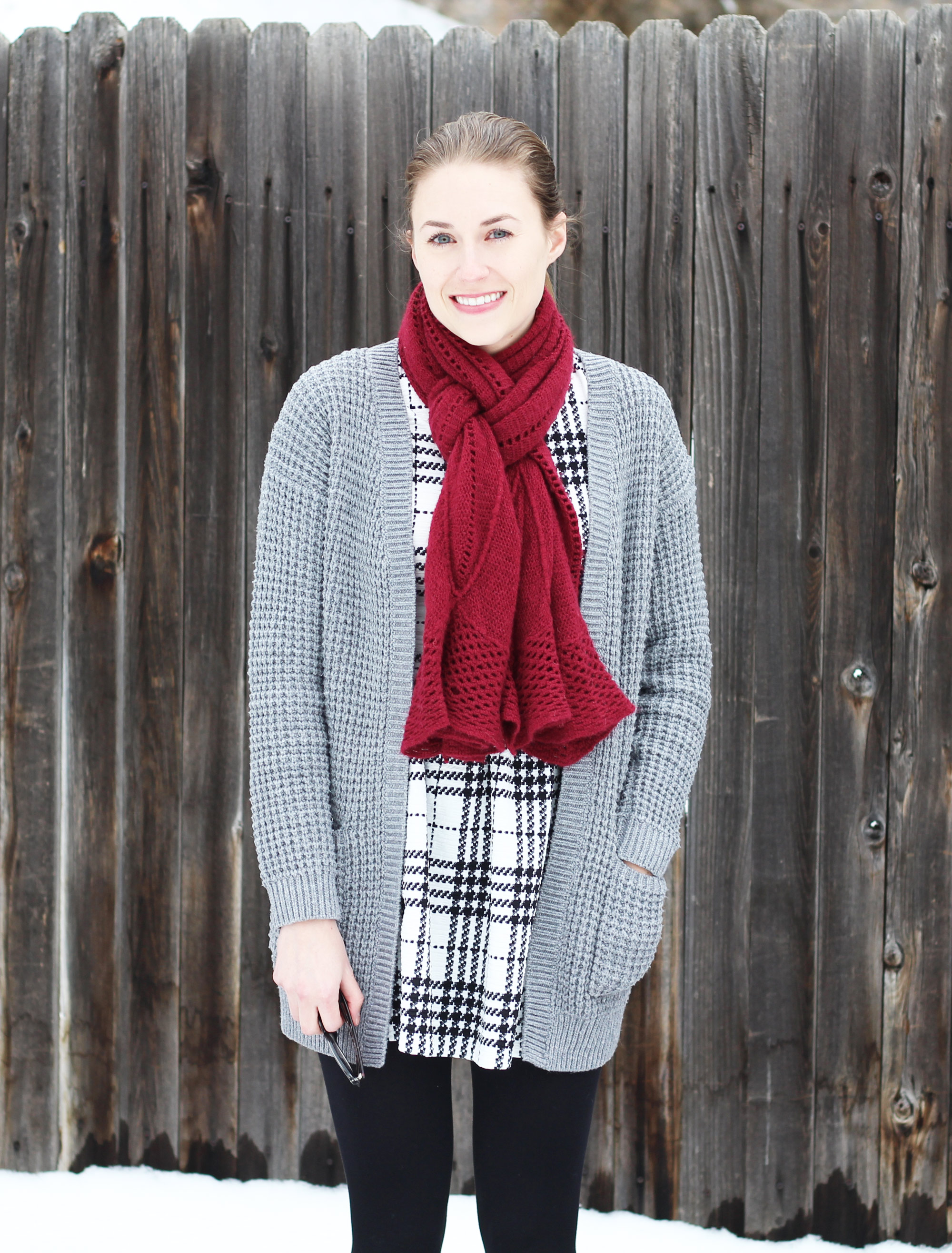 Plaid dress outfit with chunky grey cardigan and burgundy scarf — Cotton Cashmere Cat Hair