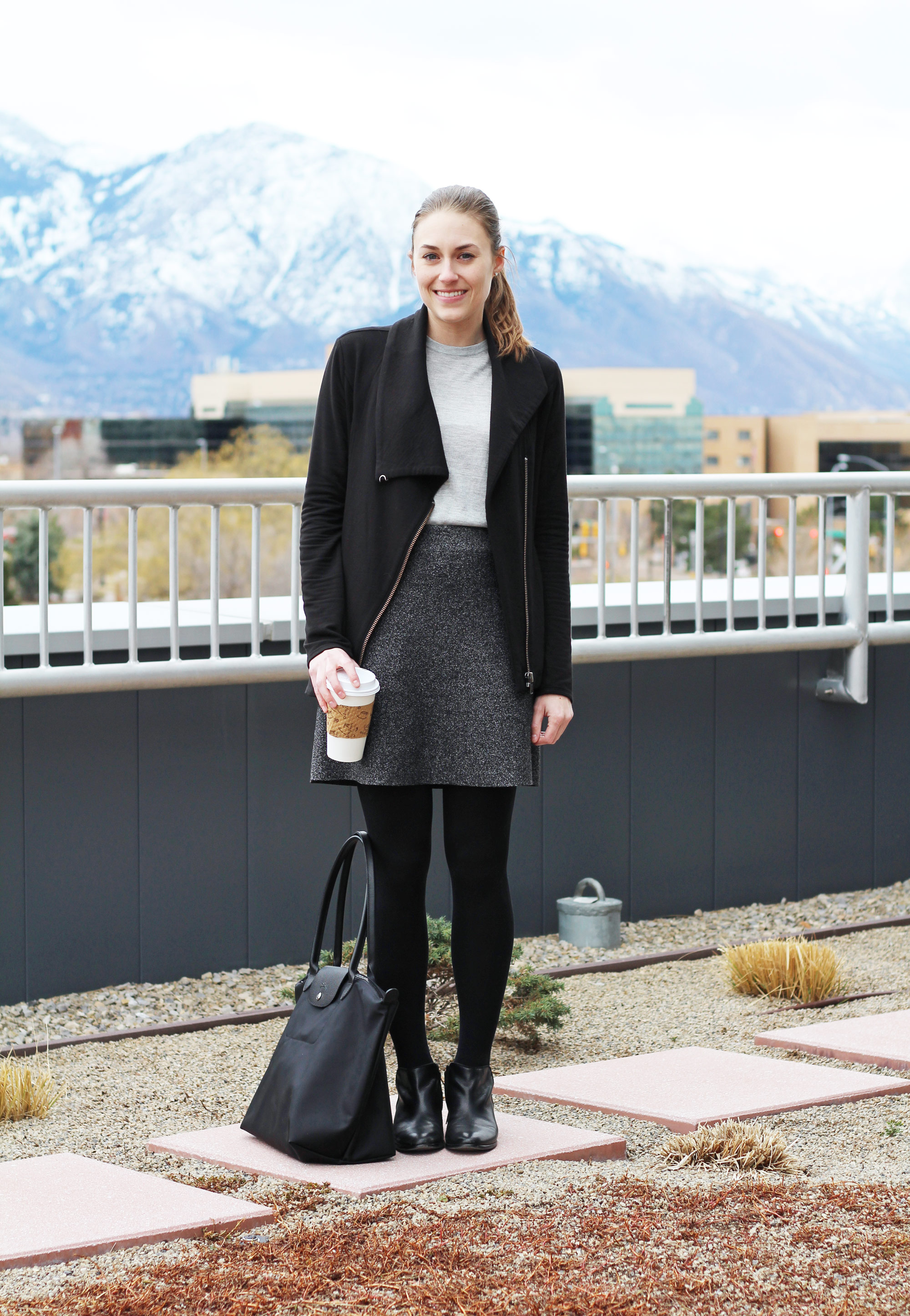Helmut Lang sweatshirt, grey sweater shell, speckled skirt, black ankle boots — Cotton Cashmere Cat Hair