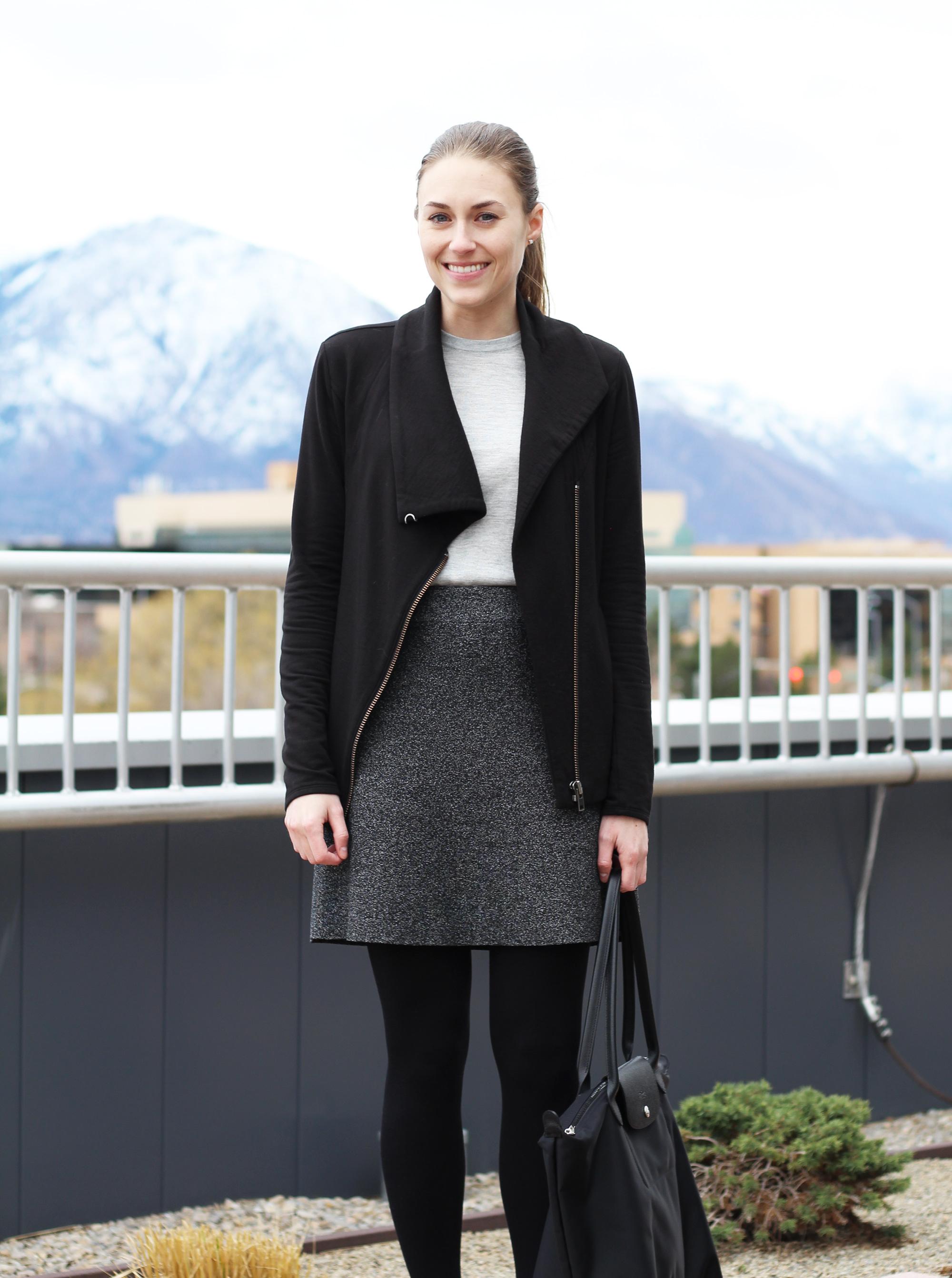 Black sweatshirt, grey shell, speckled skirt — Cotton Cashmere Cat Hair