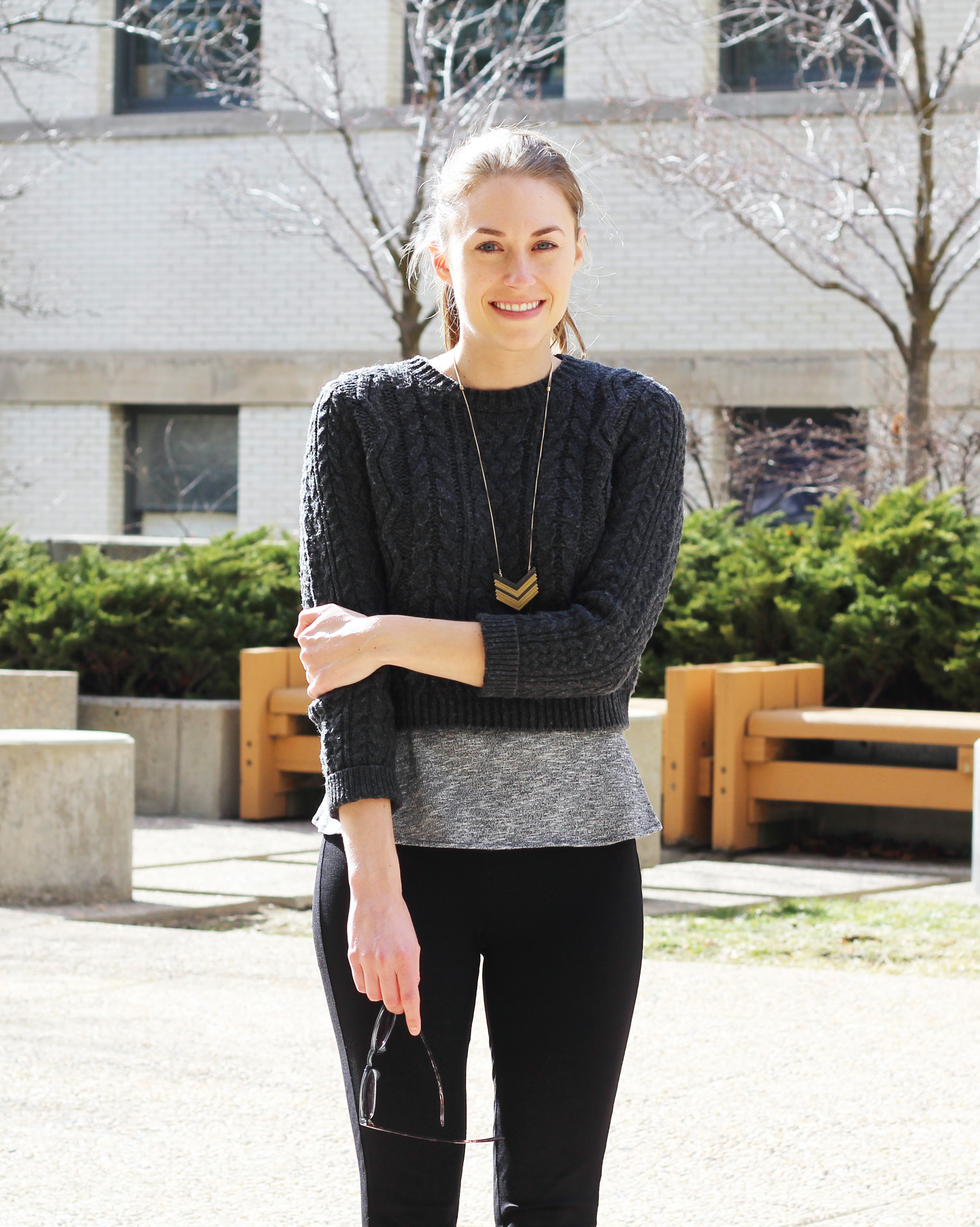 Cropped sweater outfit with peplum top and Arrowstack necklace — Cotton Cashmere Cat Hair