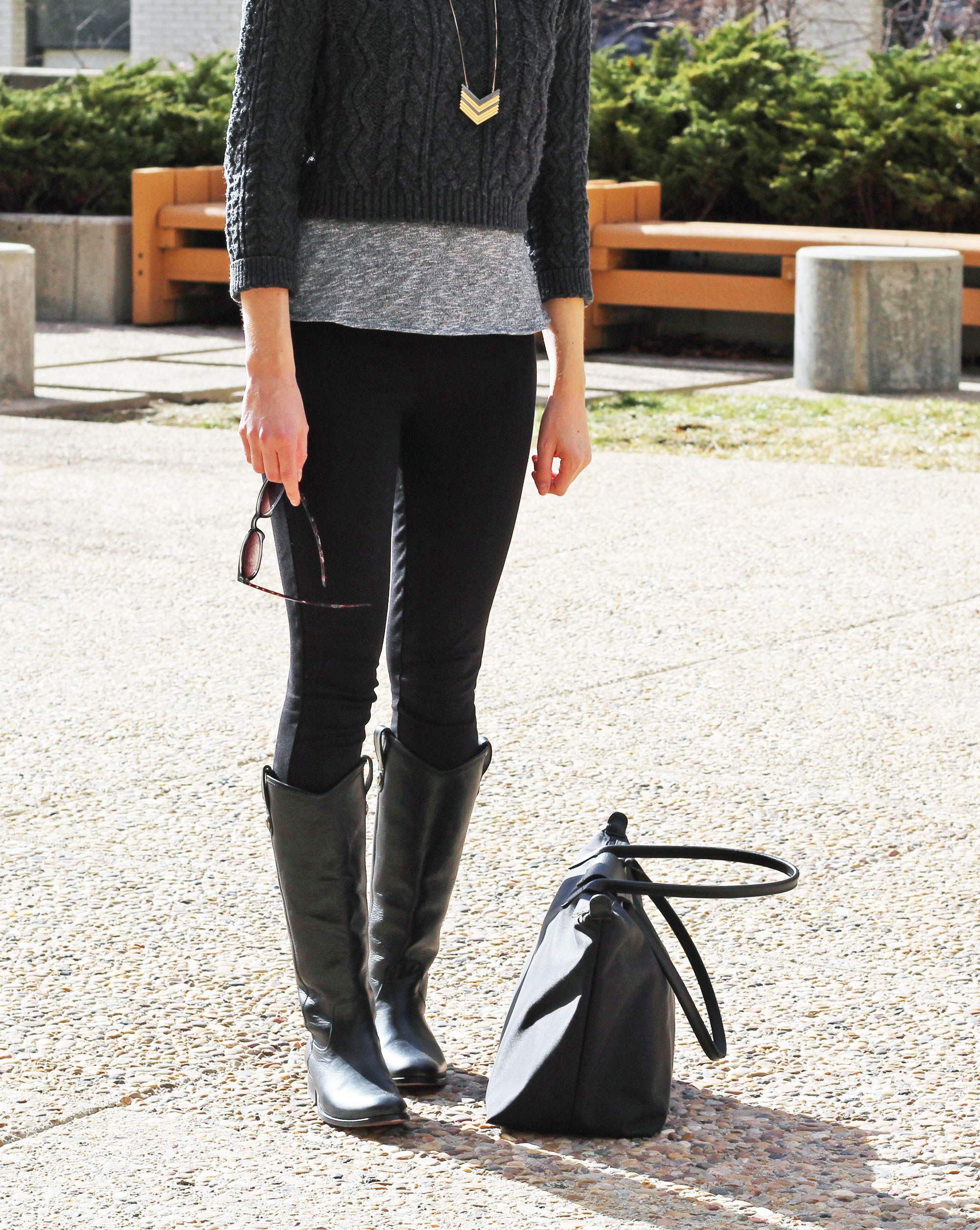 Longchamp Le Pliage Neo bag + Frye Melissa Button tall boots — Cotton Cashmere Cat Hair