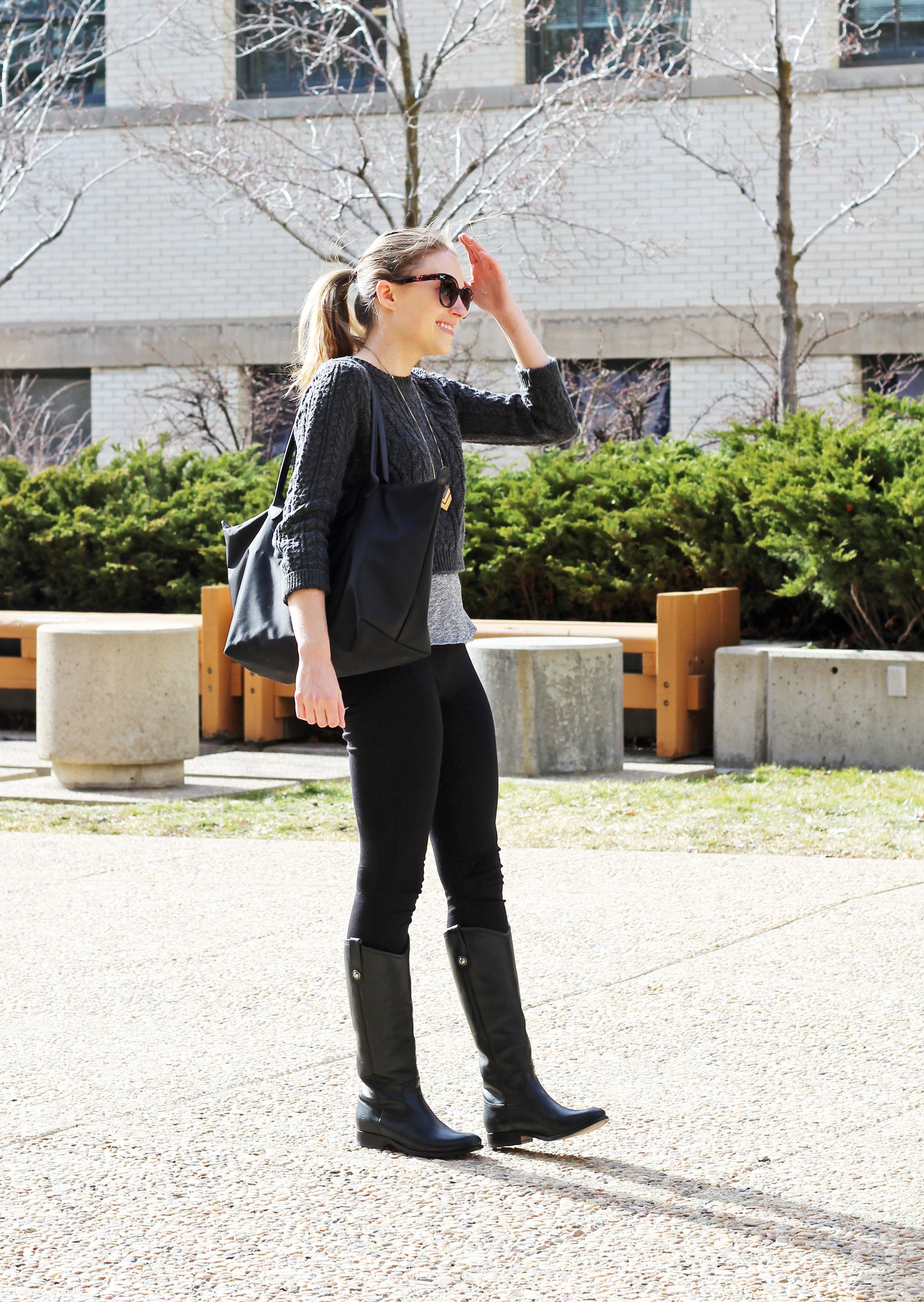 Frye Melissa Button tall boots outfit with Longchamp Le Pliage Neo tote bag — Cotton Cashmere Cat Hair