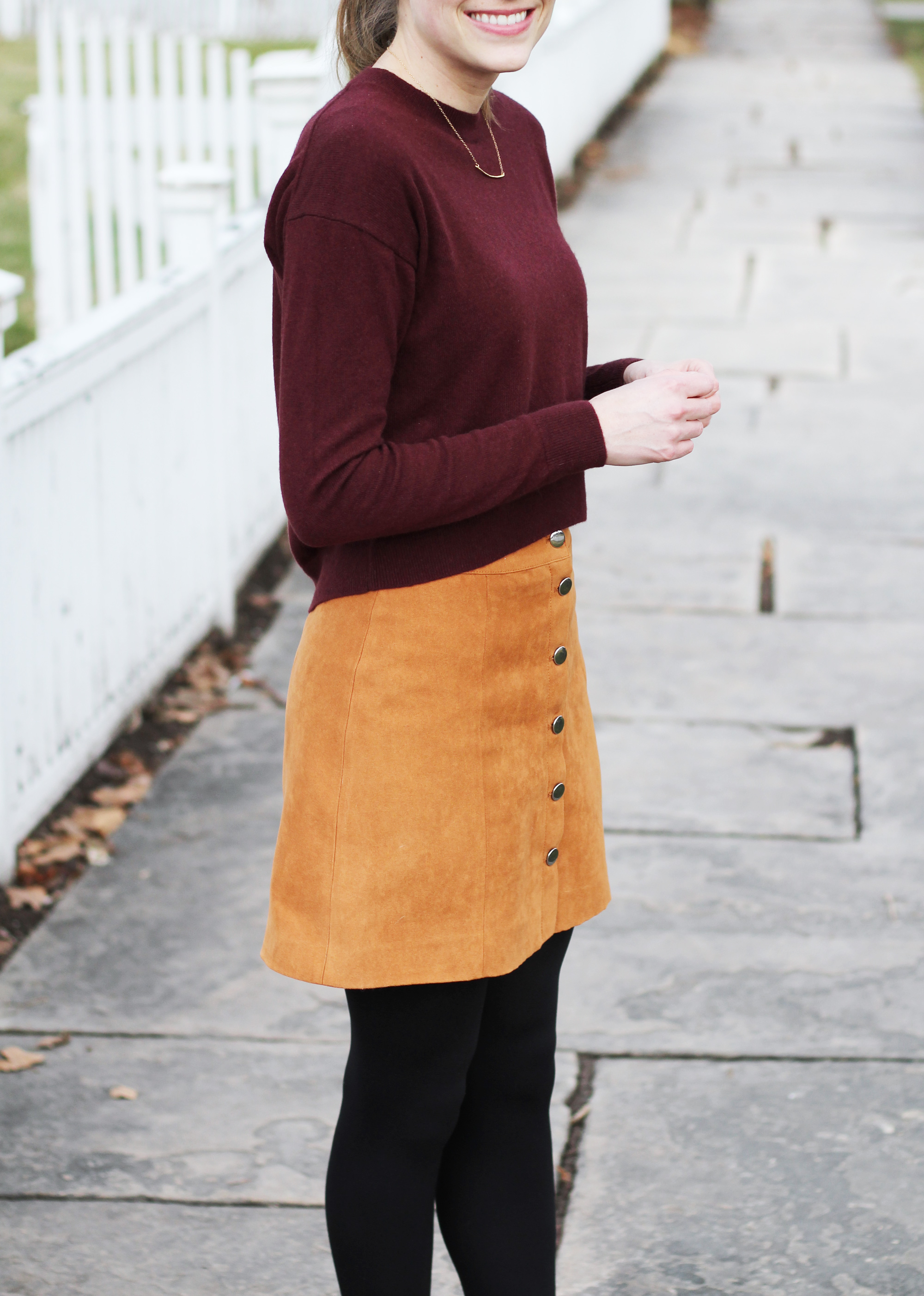Tan button-front skirt outfit with burgundy cropped sweater — Cotton Cashmere Cat Hair